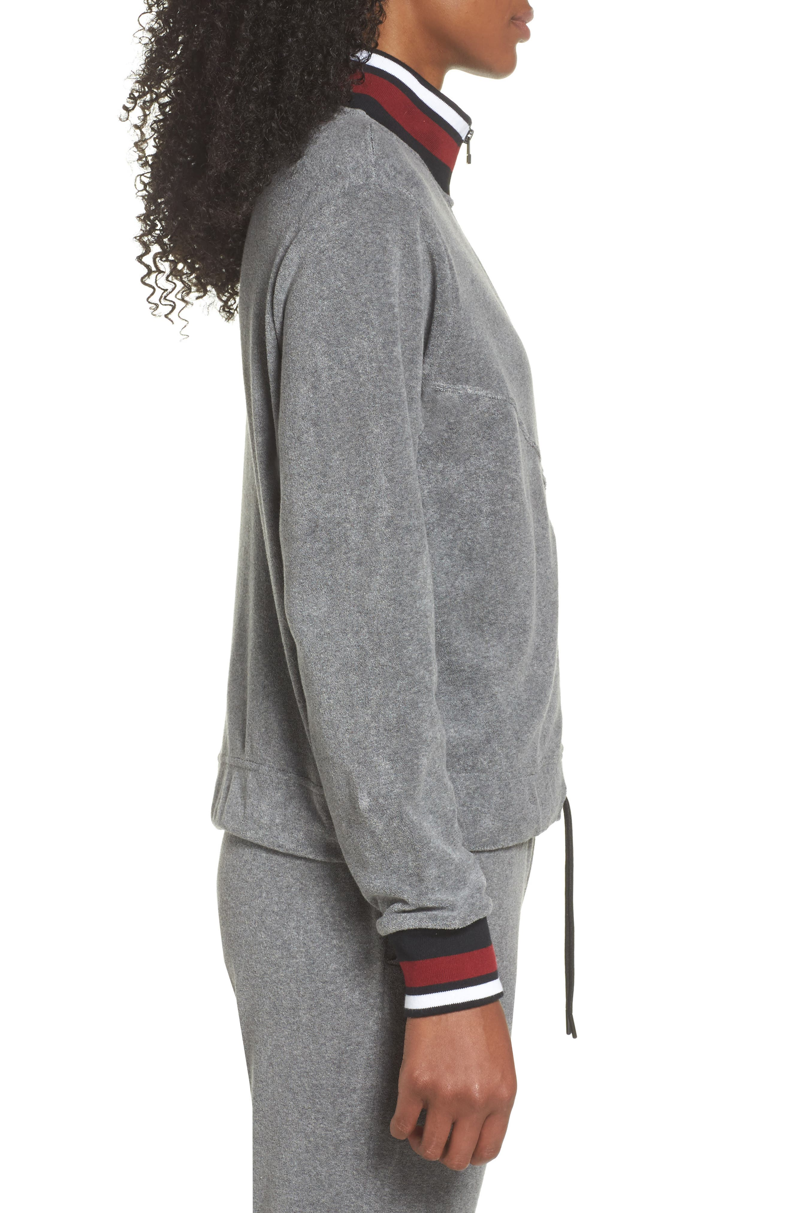Sportswear French Terry Jacket,                             Alternate thumbnail 3, color,                             Heather/ Anthracite/ Team Red
