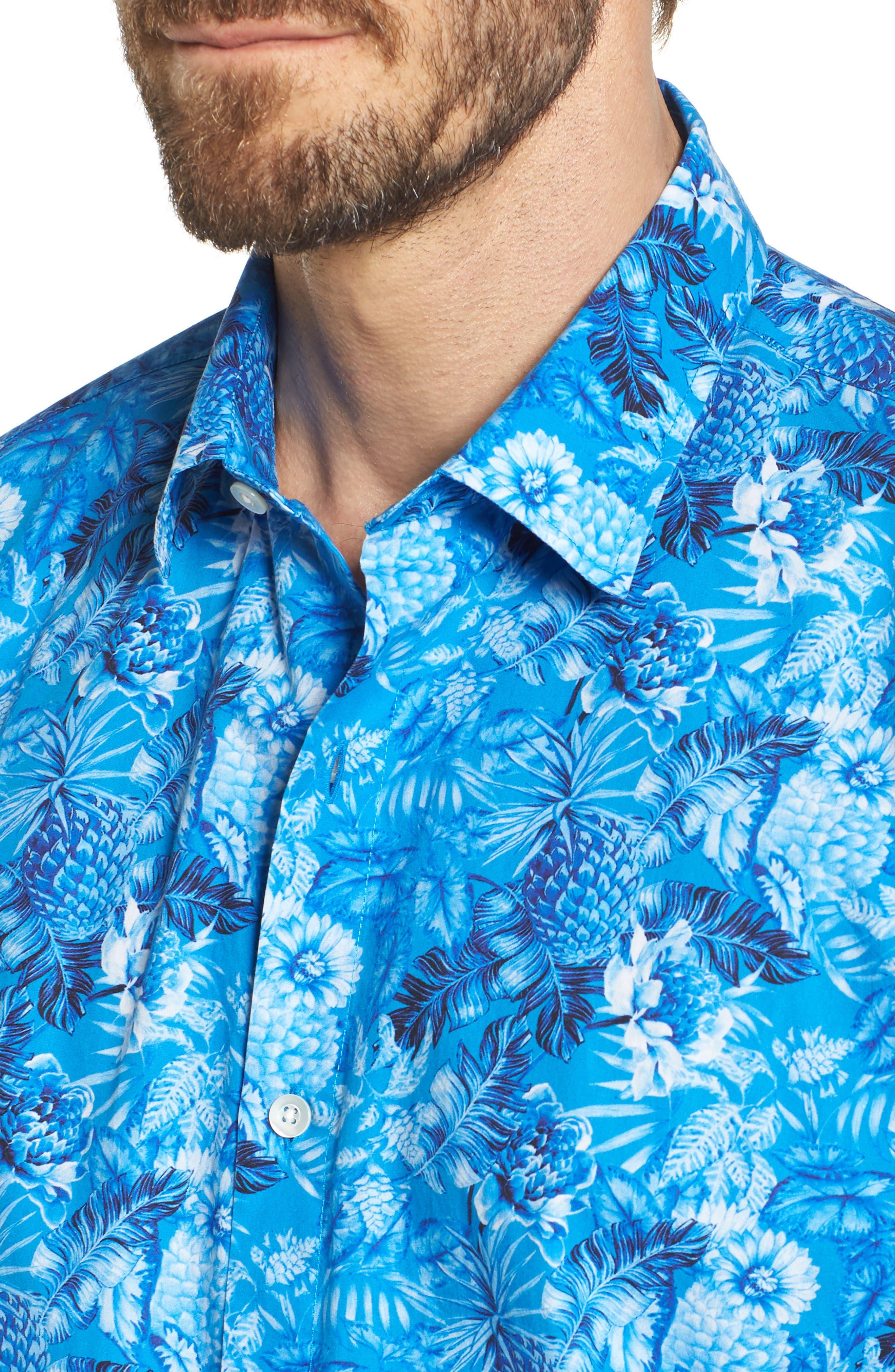 Premium Slim Fit Print Sport Shirt,                             Alternate thumbnail 2, color,                             Blue Floral
