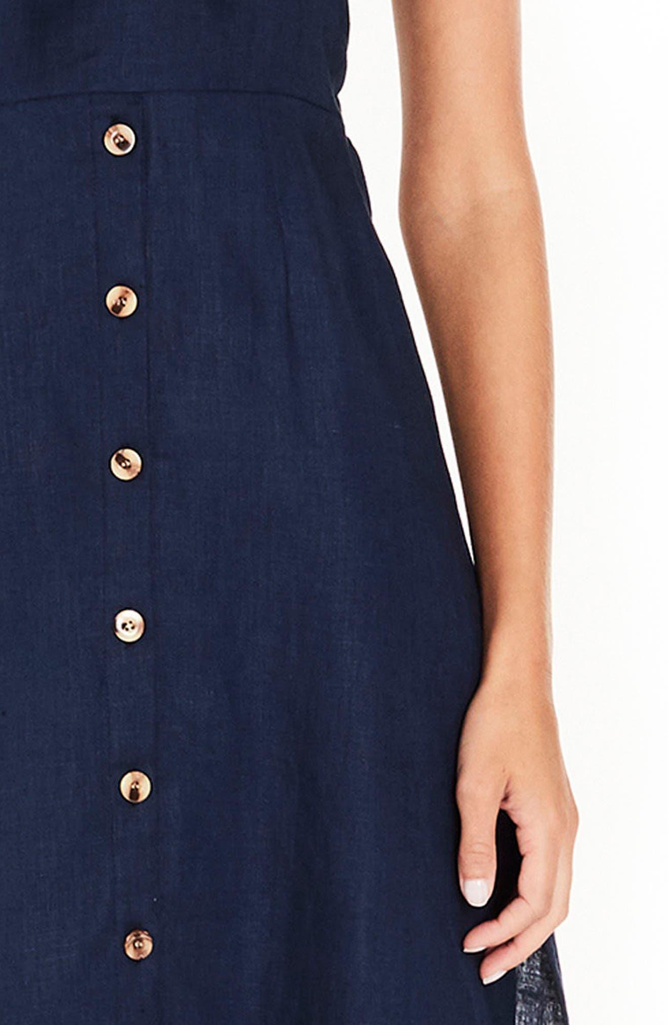 Knot Front Linen Midi Dress,                             Alternate thumbnail 4, color,                             Plain Vintage Blue Linen
