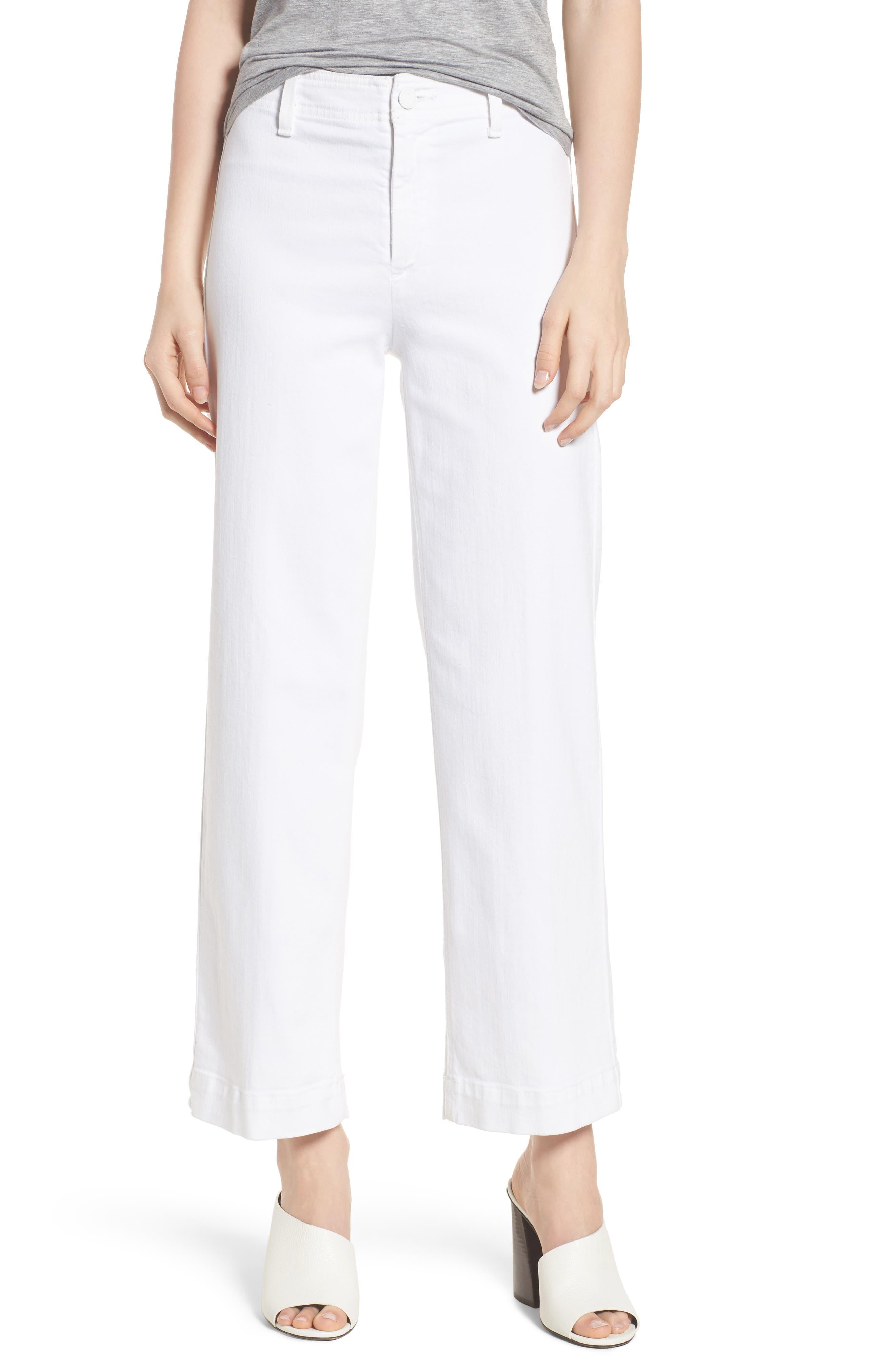 PAIGE Nellie Clean Front Culotte Jeans (Crisp White)