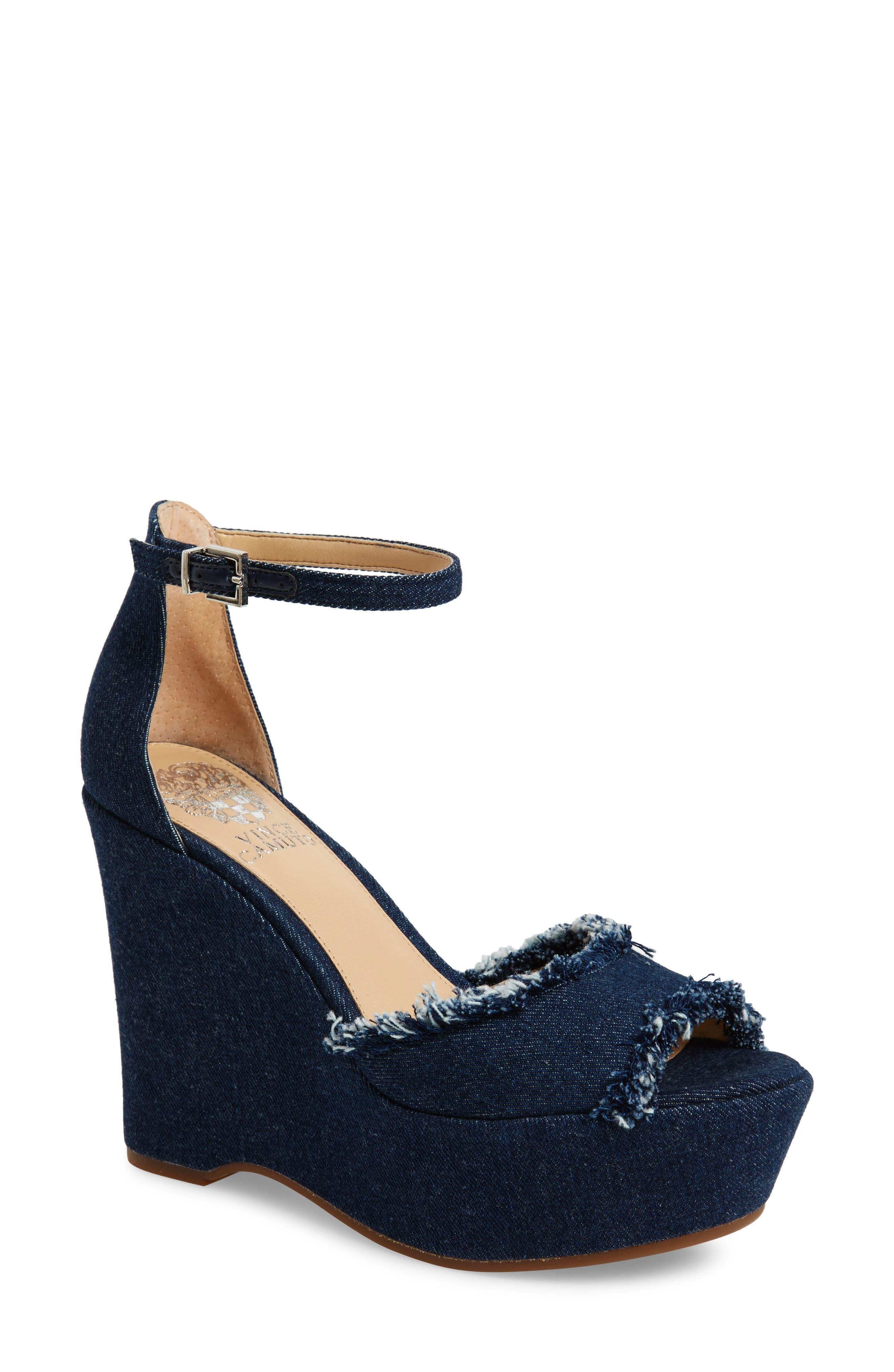 Tatchen Ankle Strap Platform Sandal,                         Main,                         color, Dark Blue Denim