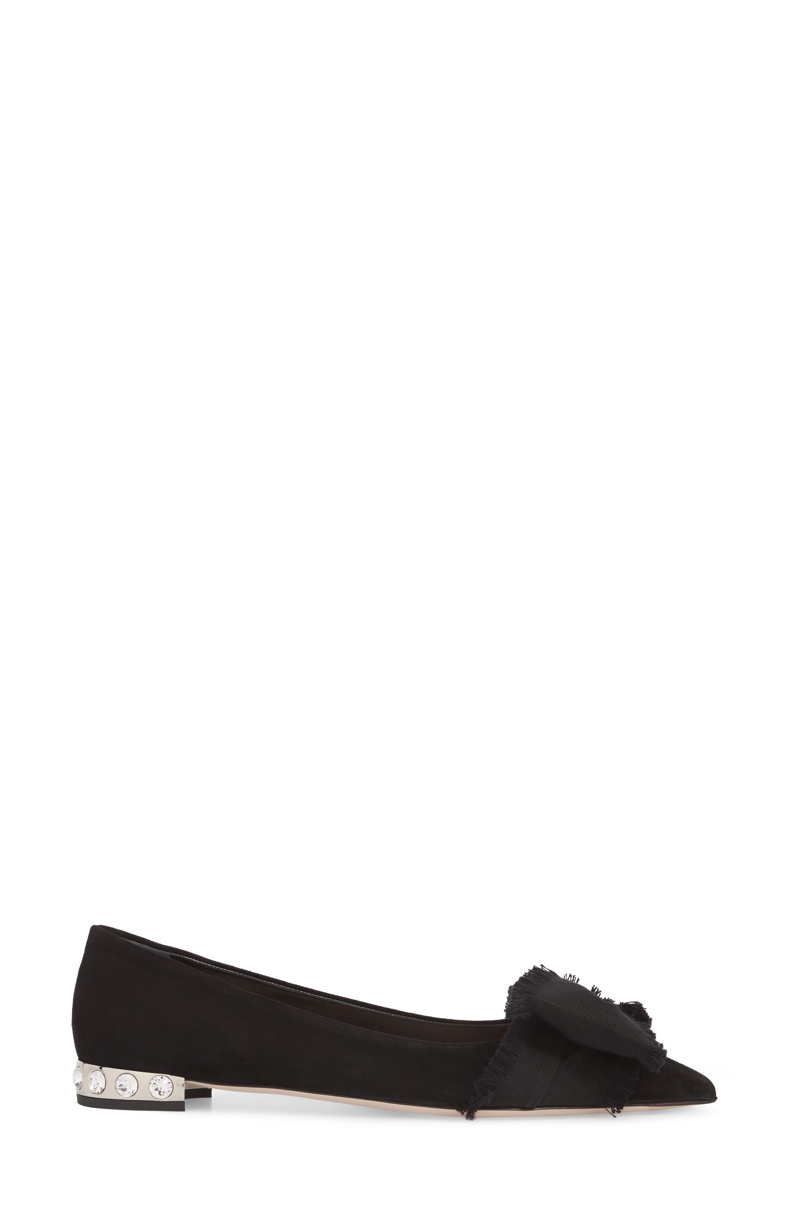 Embellished Heel Bow Flat,                             Alternate thumbnail 3, color,                             Black