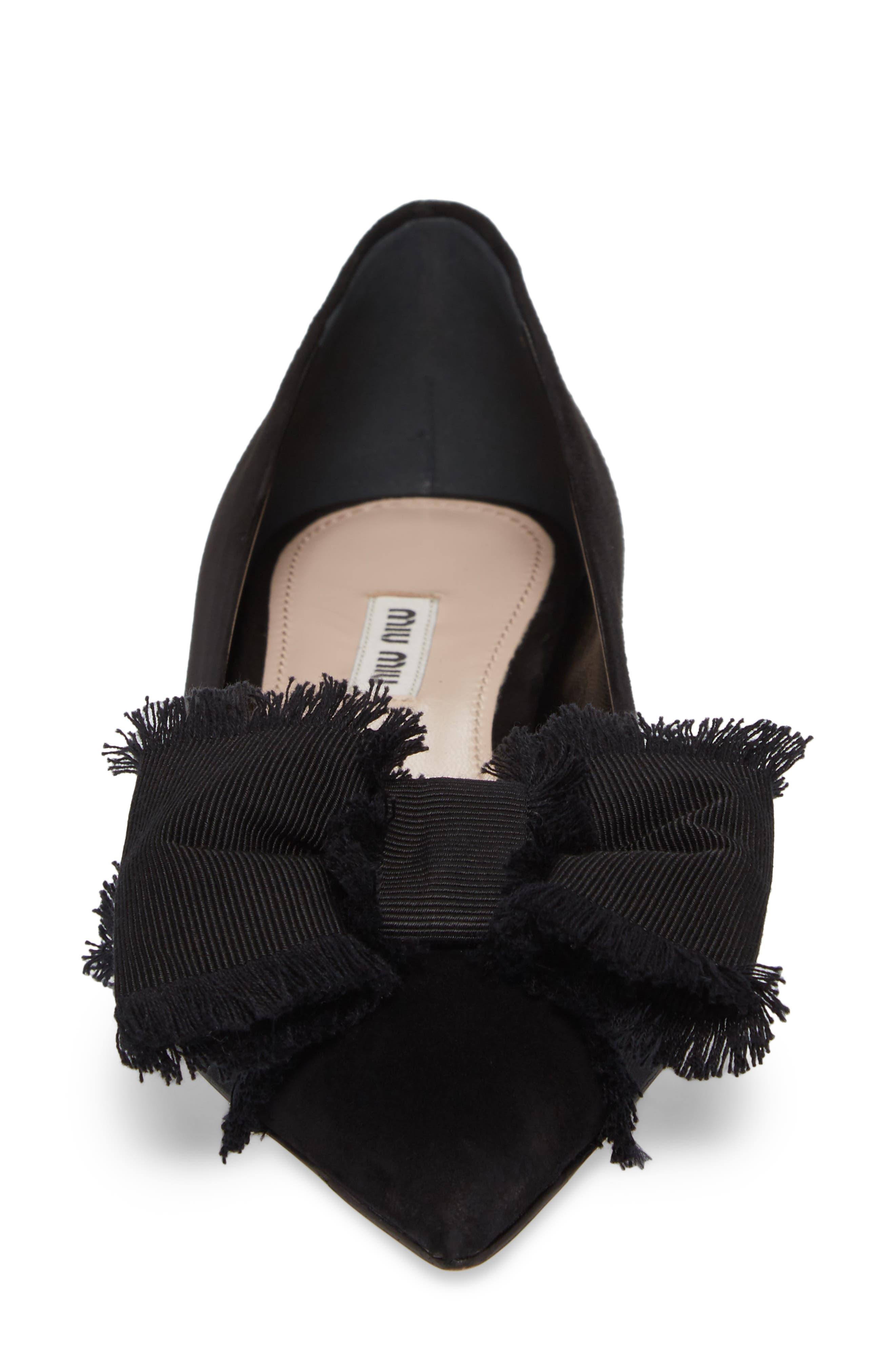 Embellished Heel Bow Flat,                             Alternate thumbnail 4, color,                             Black