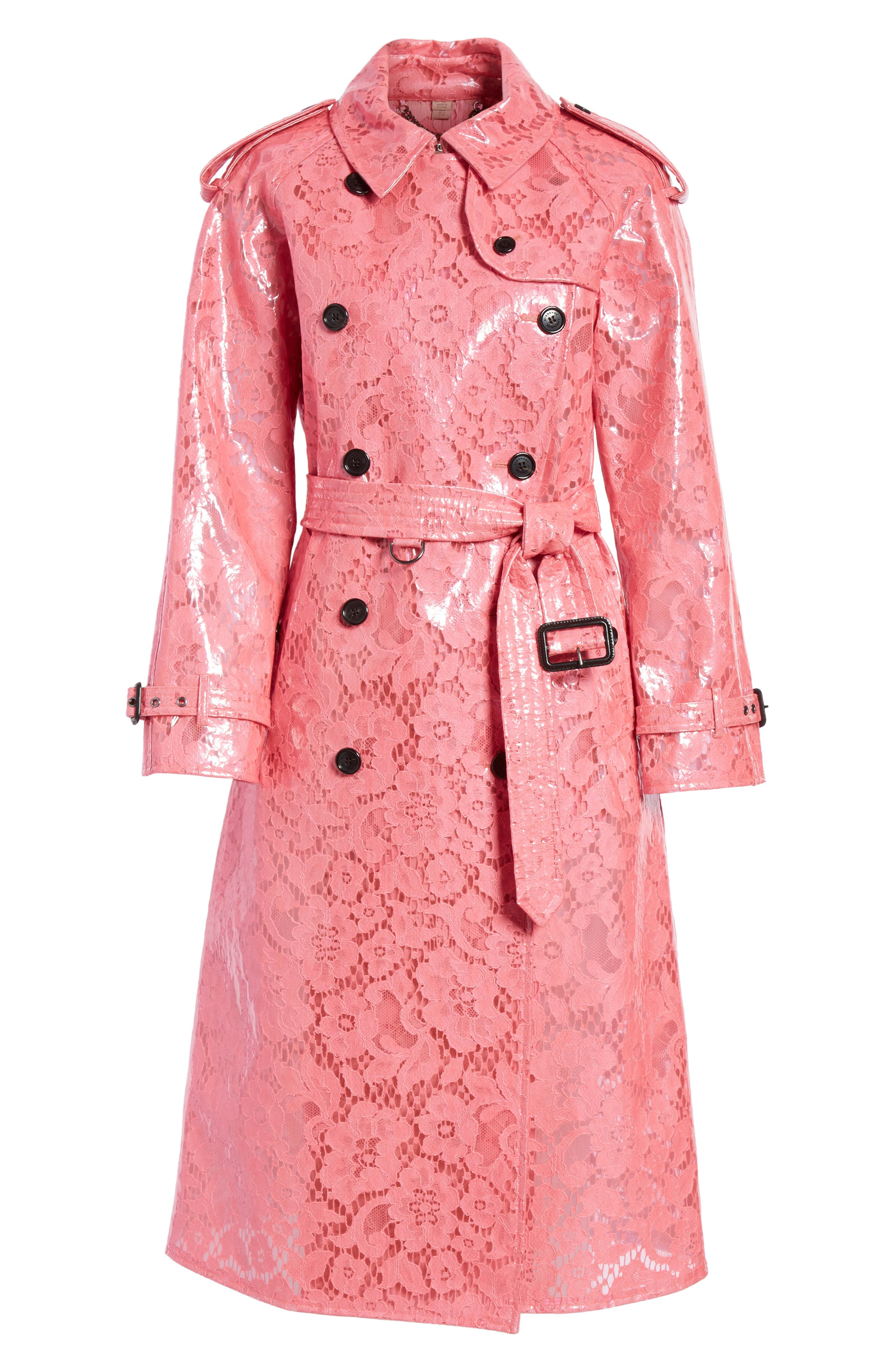 Eastheath Coated Lace Trench Coat,                             Alternate thumbnail 6, color,                             Bright Pink