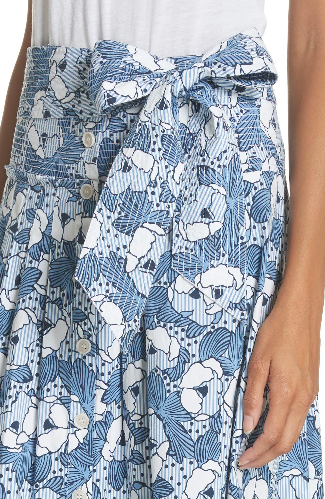 Caralina Floral Print Midi Skirt,                             Alternate thumbnail 4, color,                             Blue/ White
