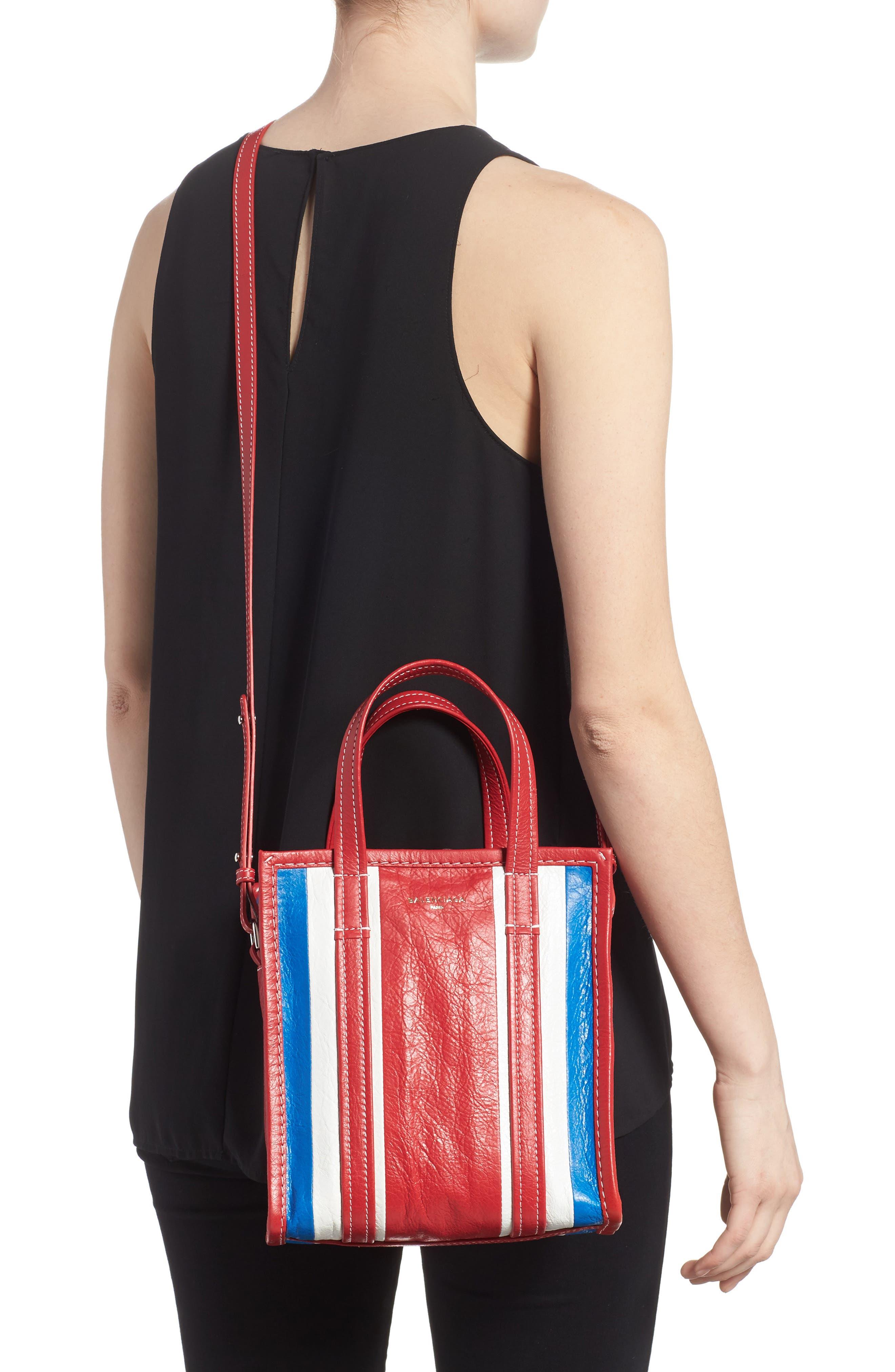Extra Small Bazar Leather AJ Shopper,                             Alternate thumbnail 2, color,                             Blue/ Blanc/ Rouge