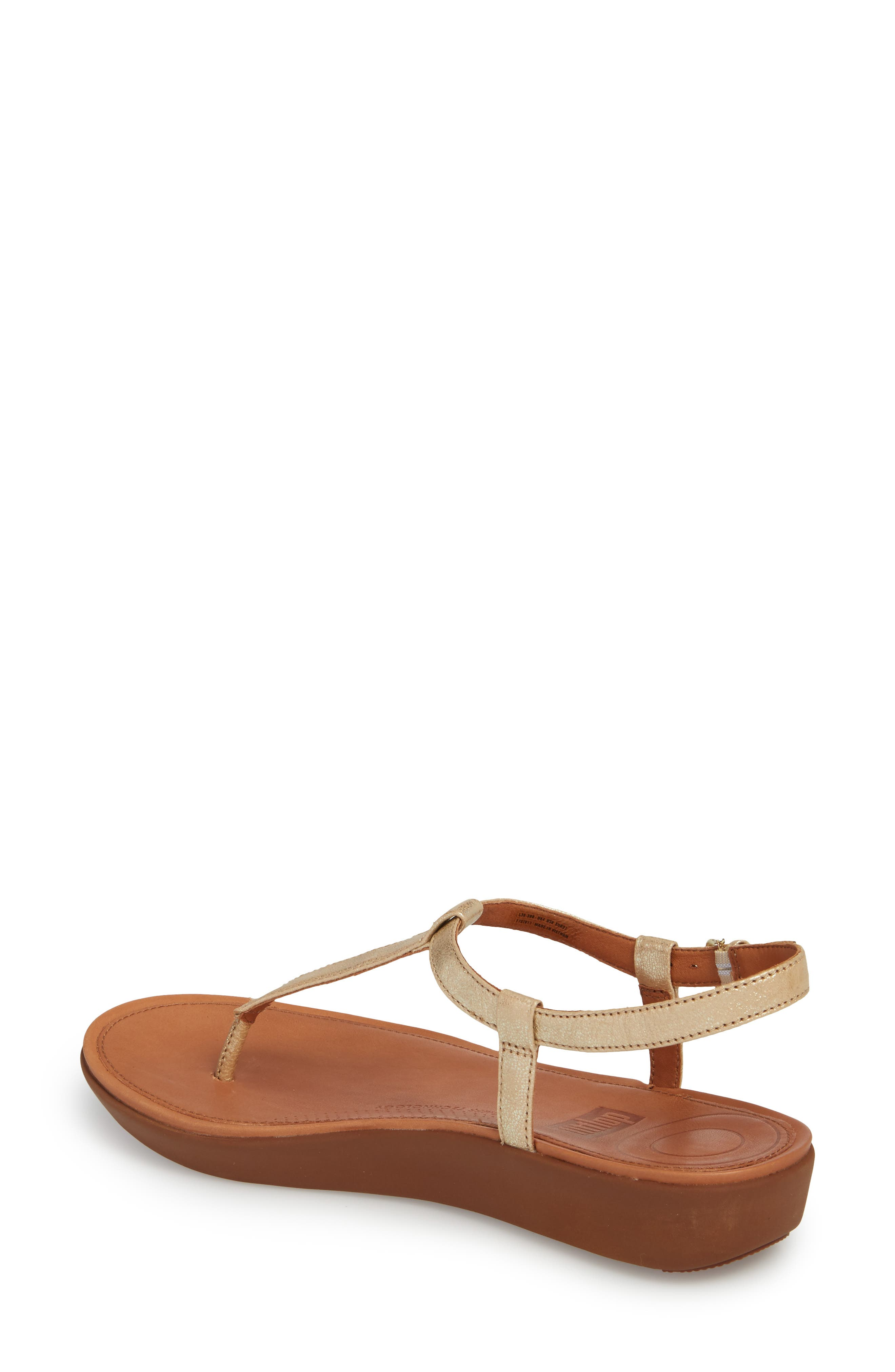 Tia Thong Sandal,                             Alternate thumbnail 2, color,                             Pale Gold Leather