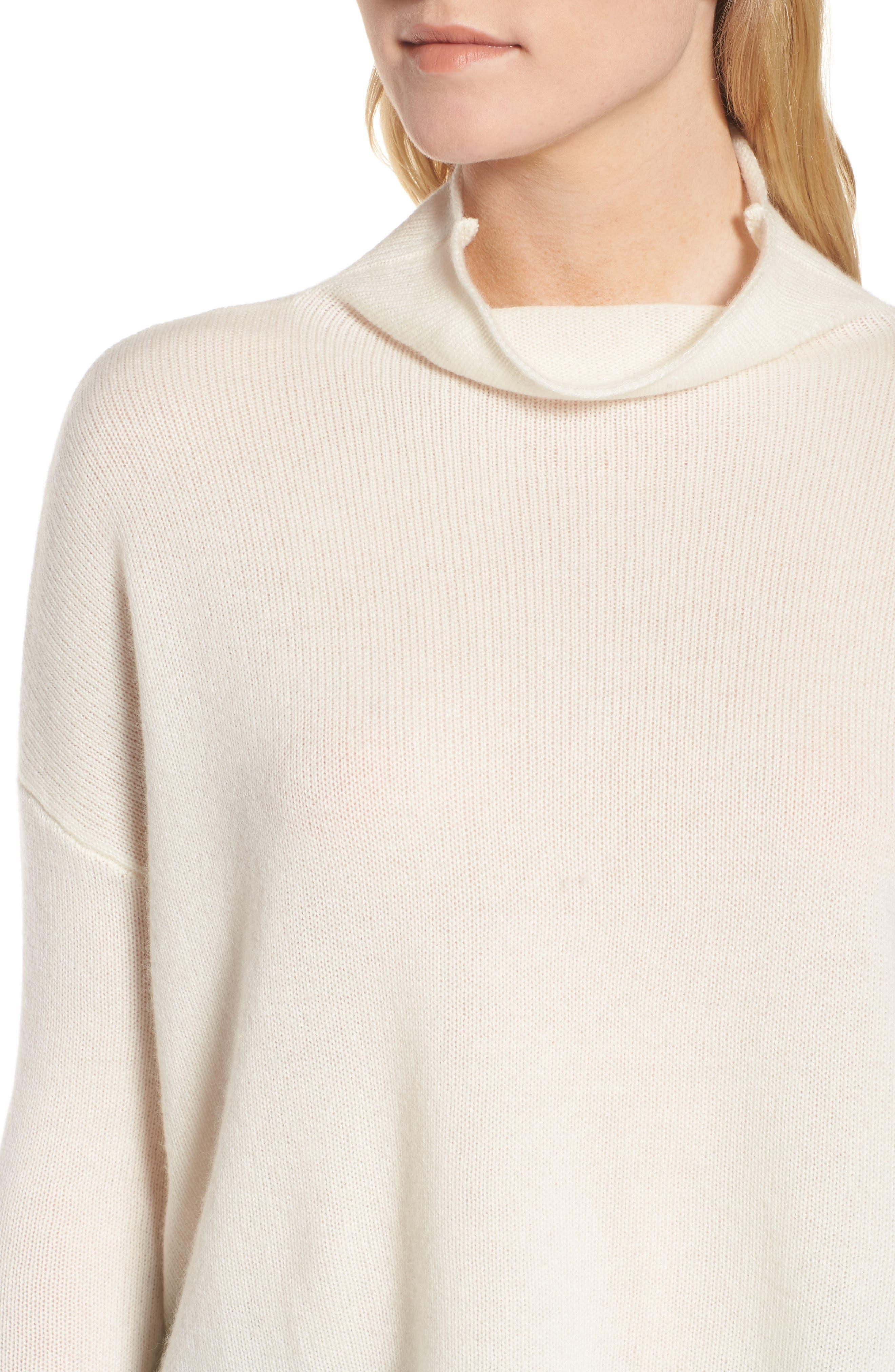 Mock Neck Cashmere Sweater,                             Alternate thumbnail 3, color,                             Ivory
