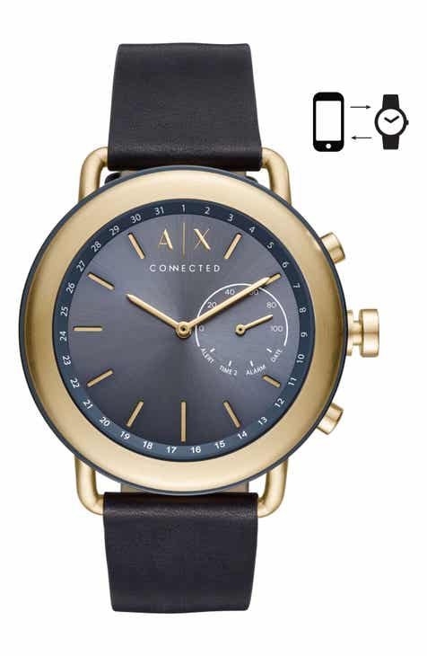 e8f9f807a6a AX Armani Exchange Connected Hybrid Leather Strap Smartwatch, 47mm