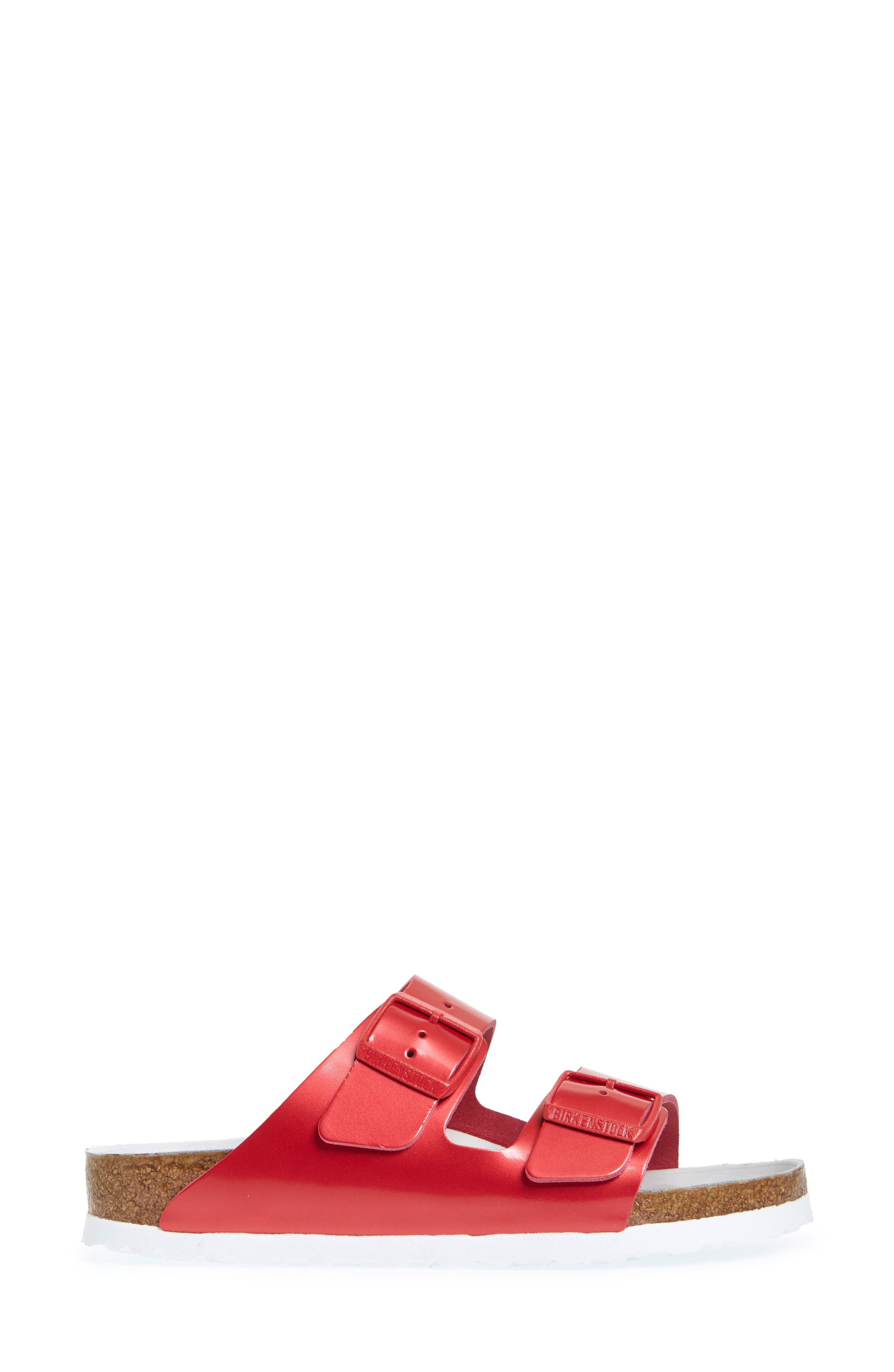 Arizona Hex Limited Edition - Shock Drop Slide Sandal,                             Alternate thumbnail 3, color,                             Red Spectacular Leather