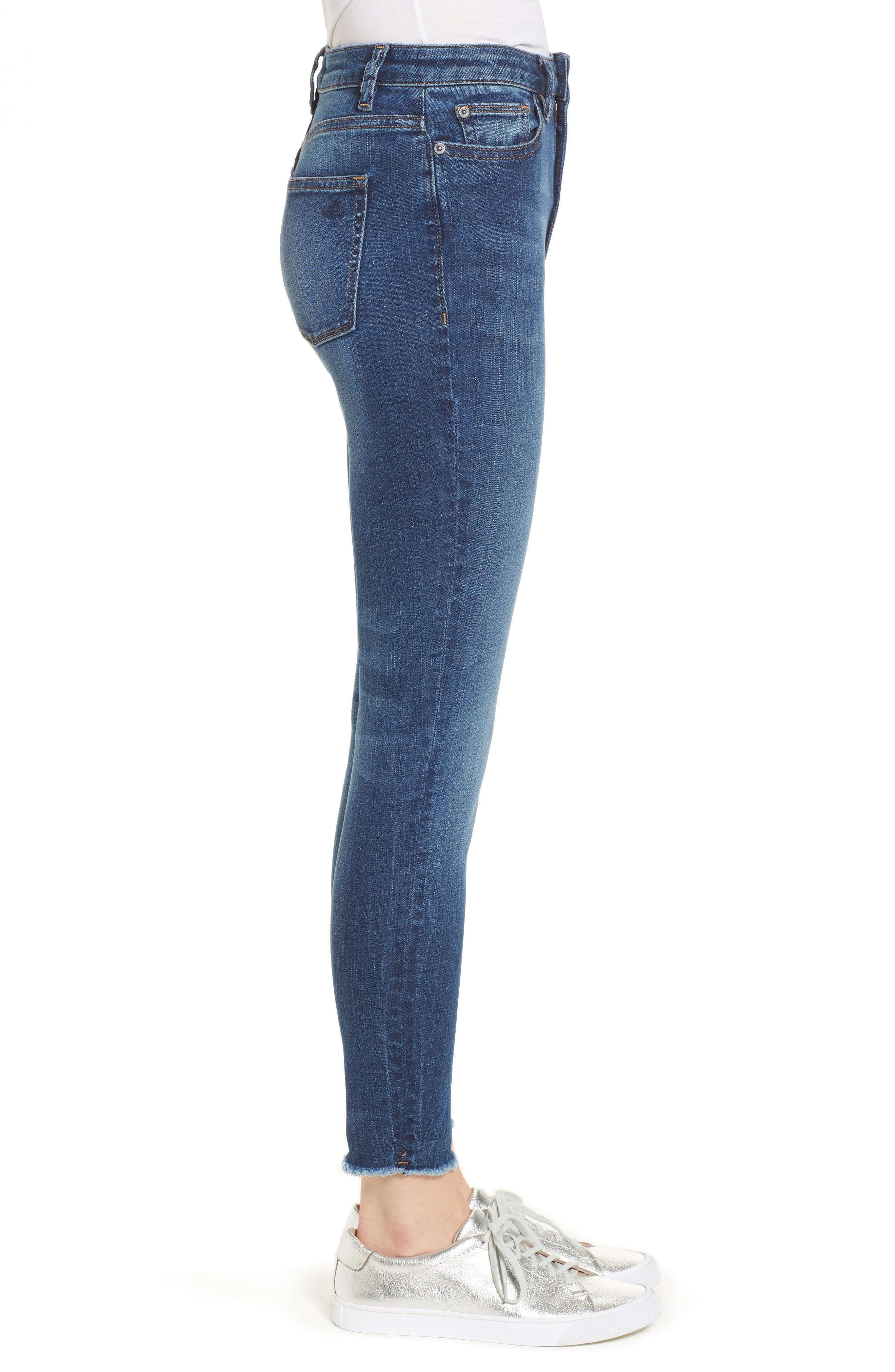 Chrissy Trimtone High Waist Skinny Jeans,                             Alternate thumbnail 3, color,                             Bal Harbour