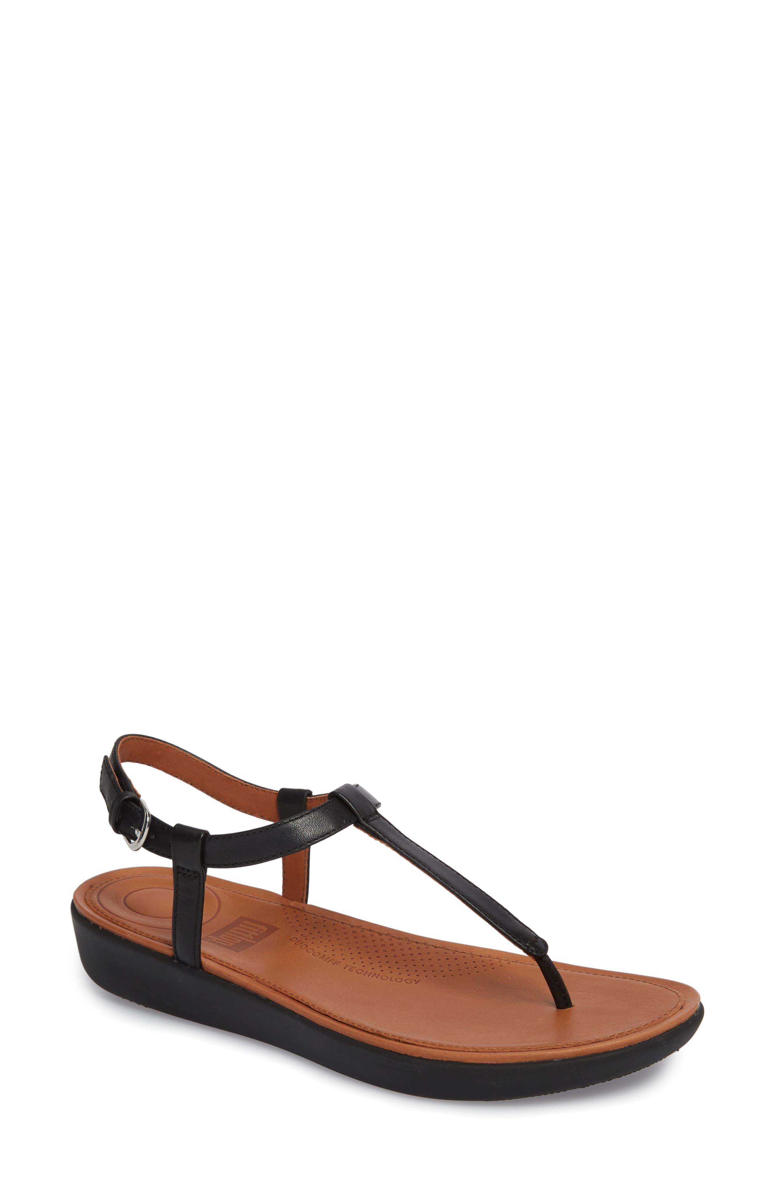 Tia Thong Sandal,                             Main thumbnail 1, color,                             Black Leather