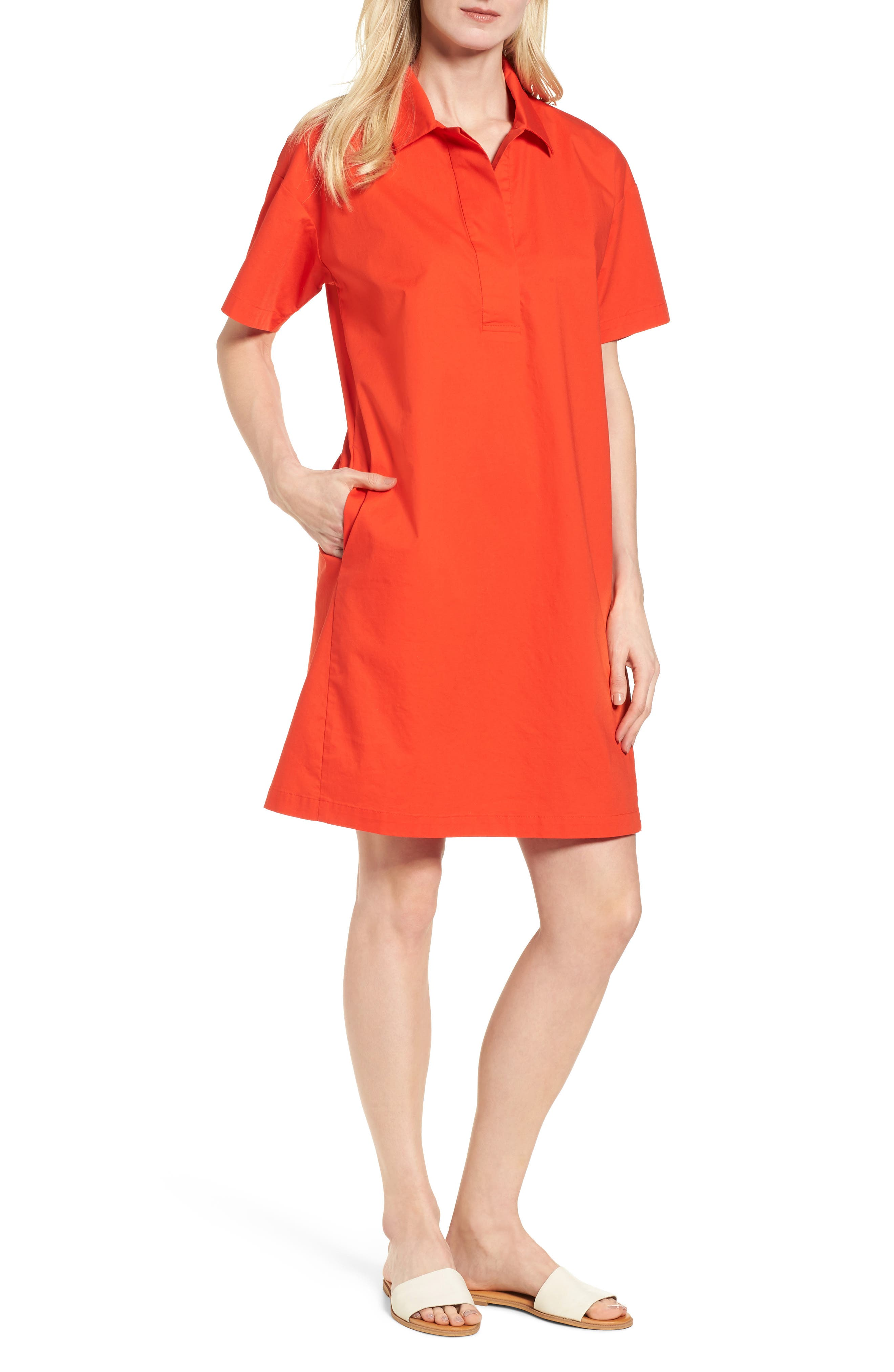 Organic Cotton Poplin Shirtdress,                         Main,                         color, Hot Red