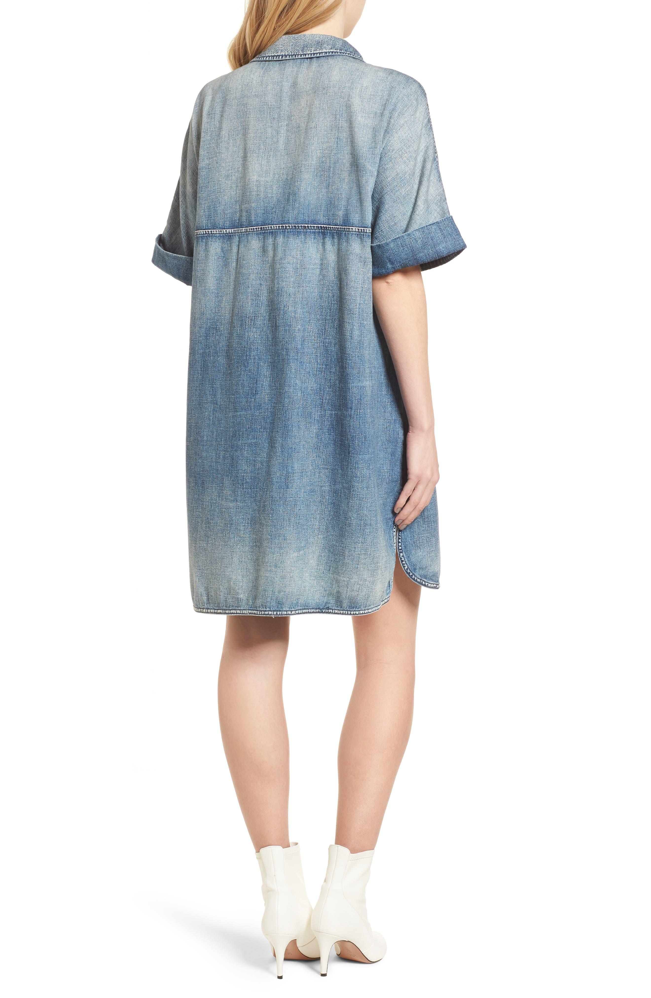 Amanda Denim Shift Dress,                             Alternate thumbnail 2, color,                             Pebble Shore