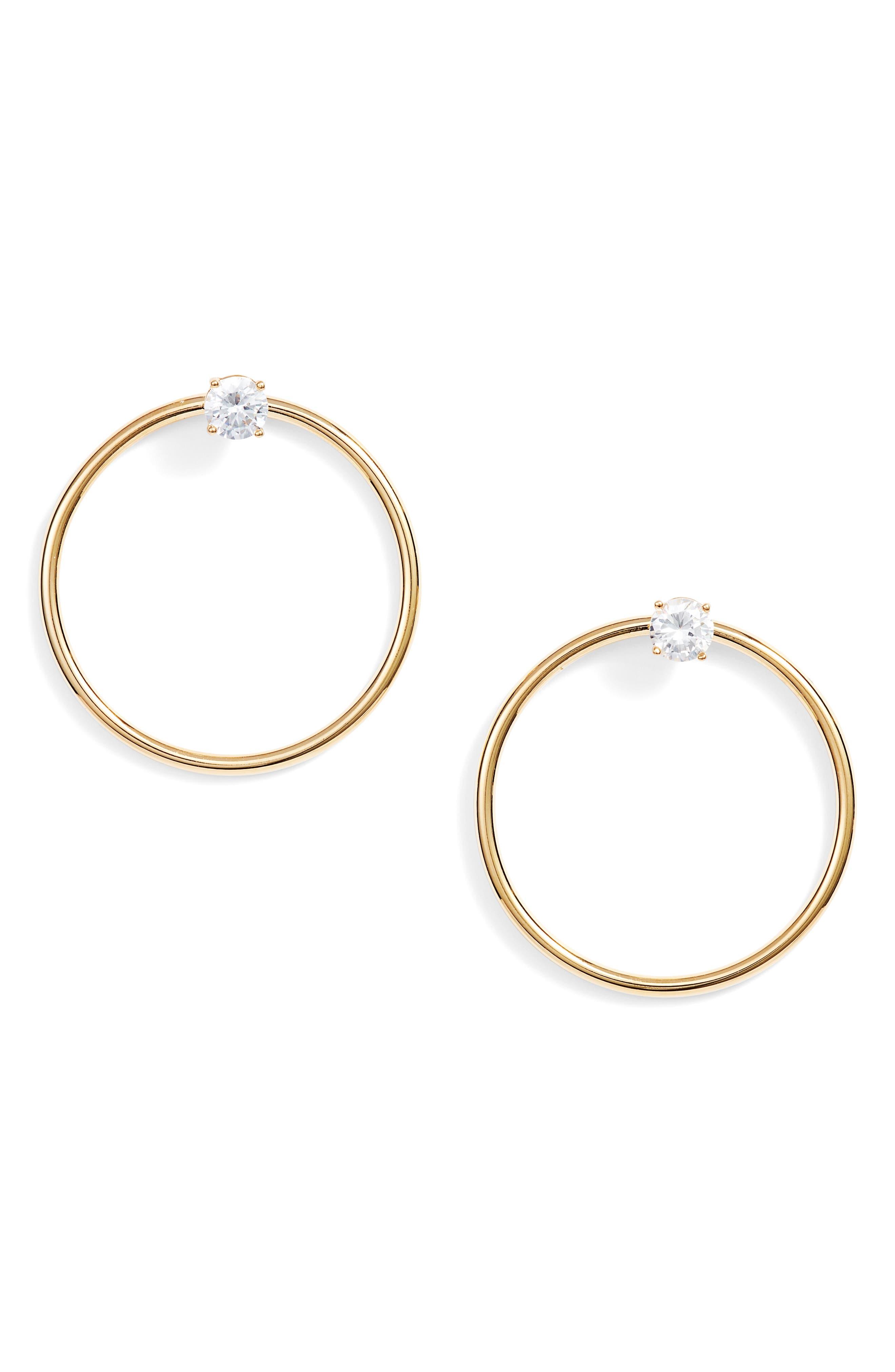 Crystal Stud Hoop Earrings,                             Main thumbnail 1, color,                             Gold