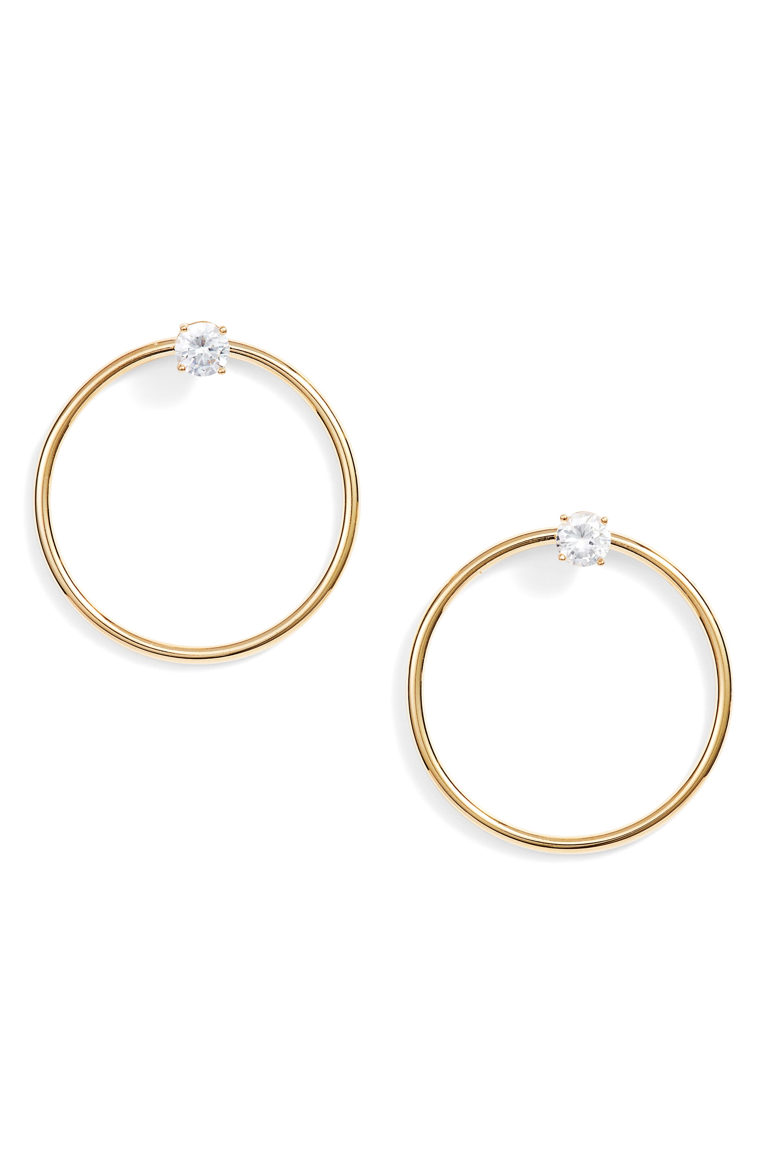 Crystal Stud Hoop Earrings,                         Main,                         color, Gold