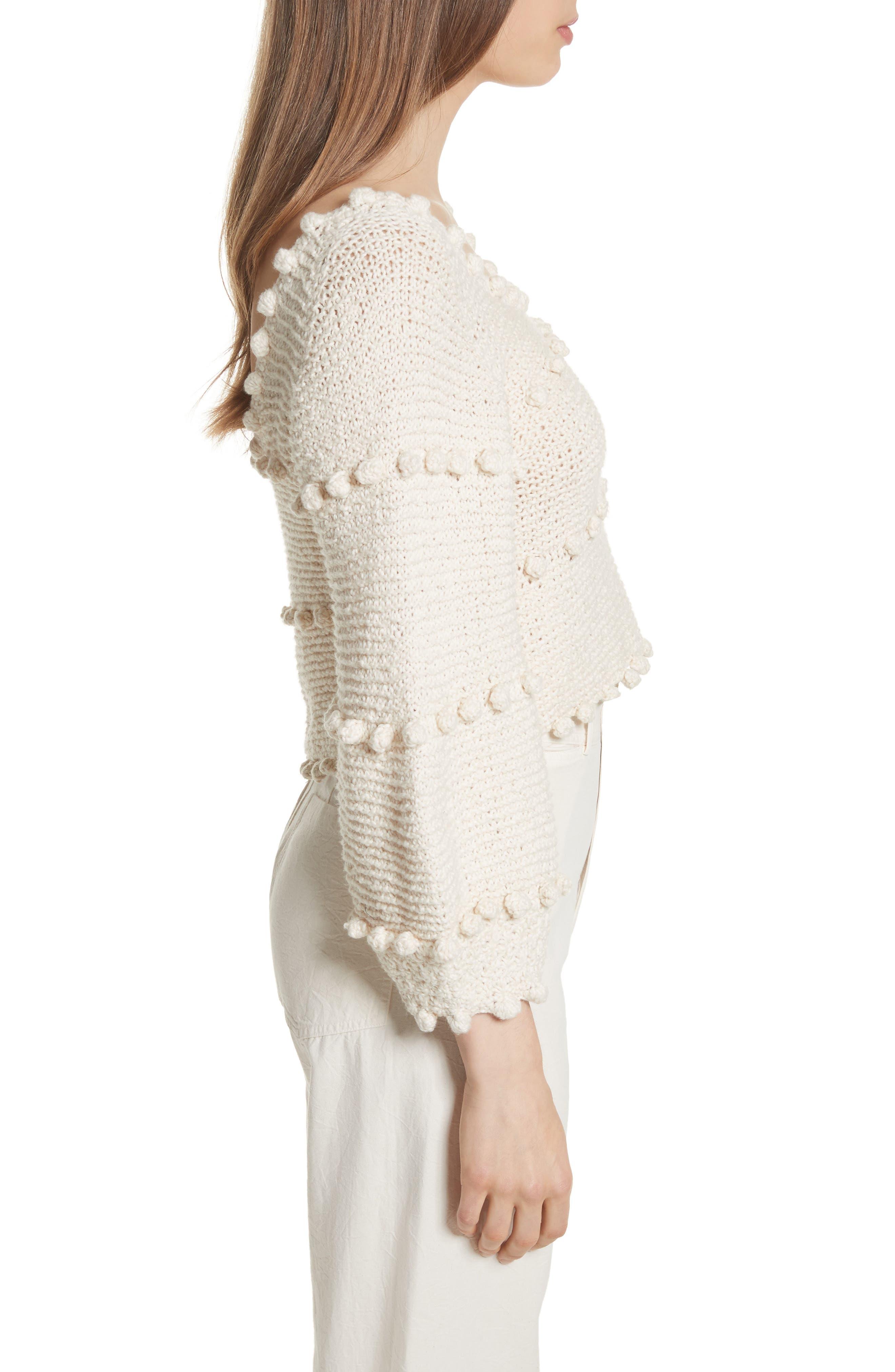 Hyacinth Pompom Stripe Sweater,                             Alternate thumbnail 3, color,                             Natural