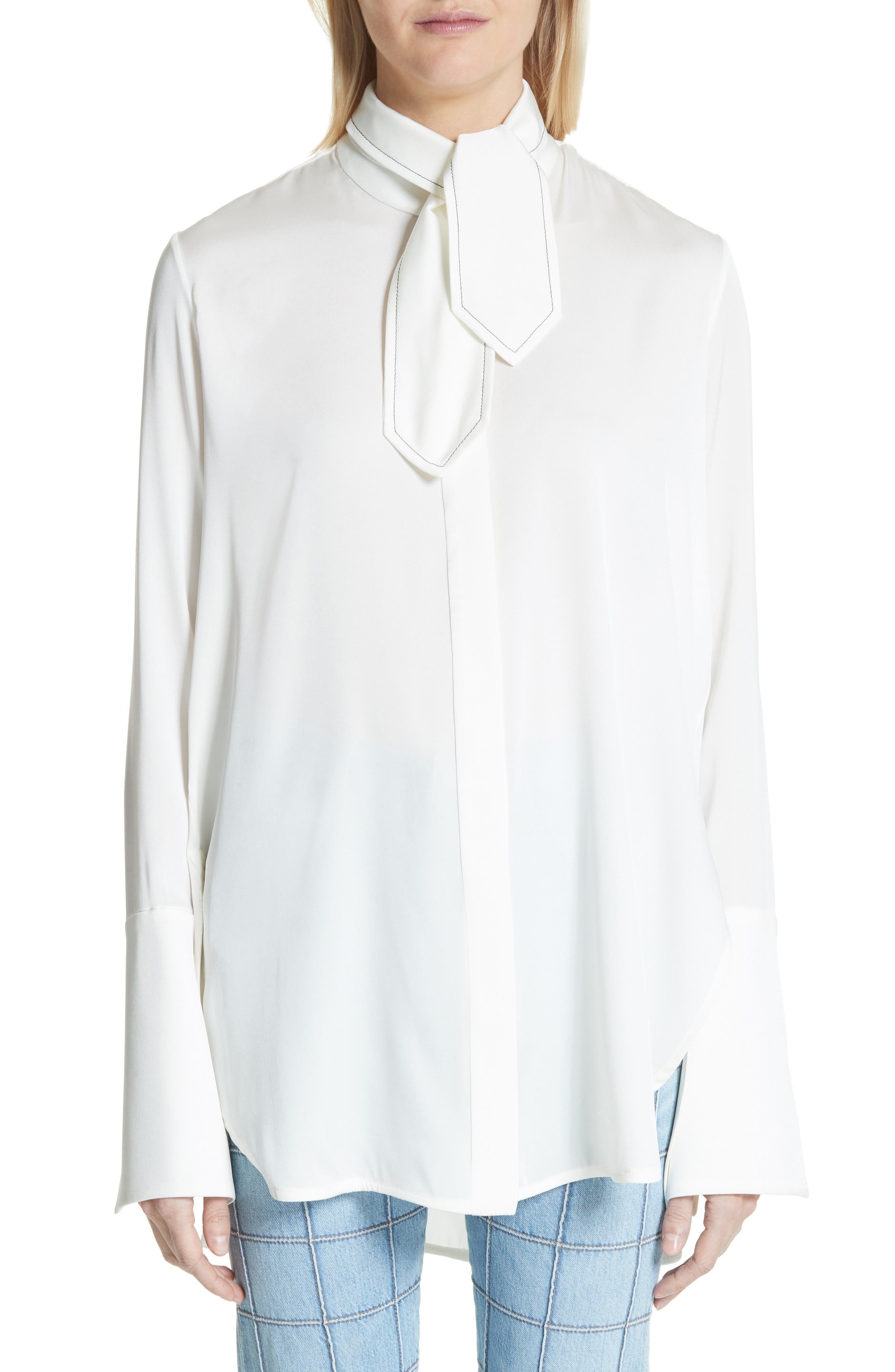 Ride Lonesome Tie Neck Blouse,                             Main thumbnail 1, color,                             Ivory