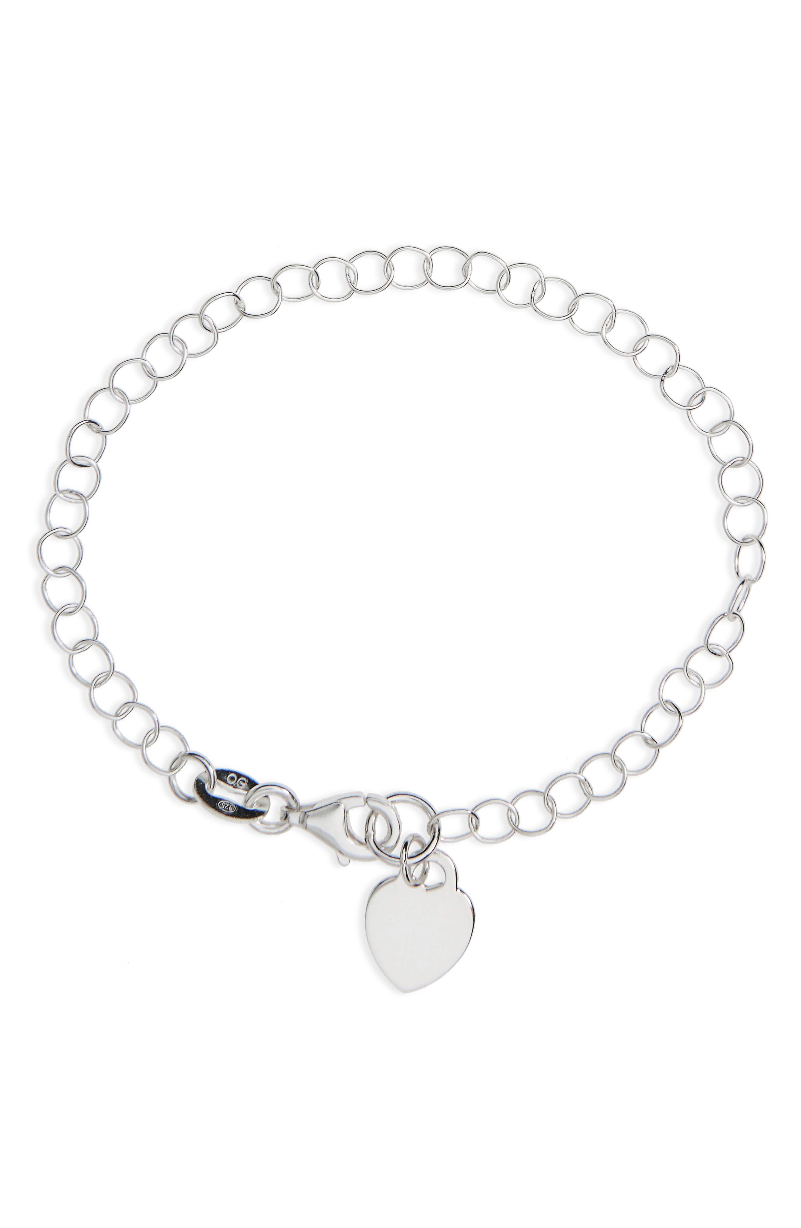 Alternate Image 1 Selected - Kardee Kids Heart Charm Sterling Bracelet (Girls)