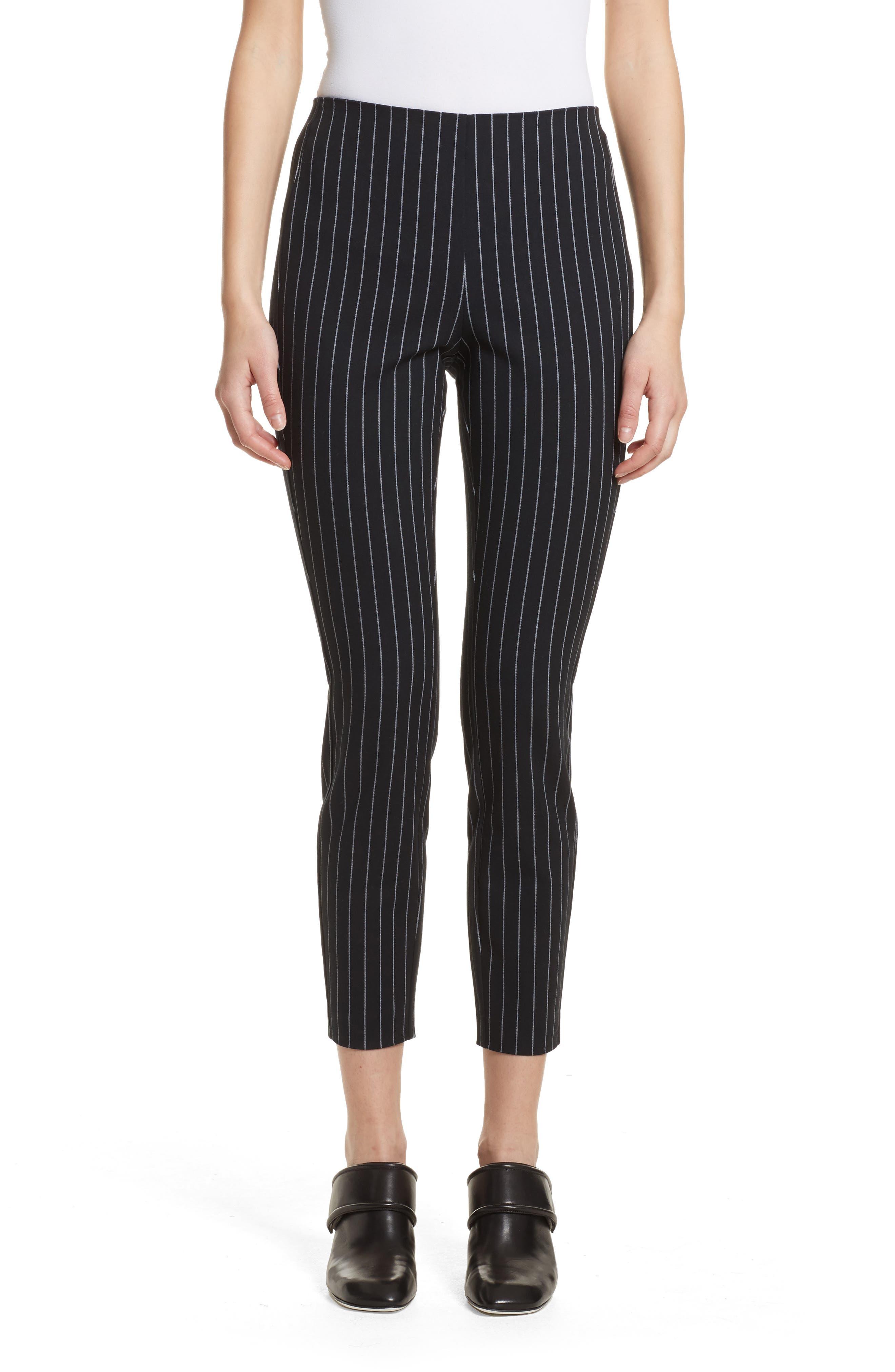 Simone Pinstripe Pants,                             Main thumbnail 1, color,                             Black/ White