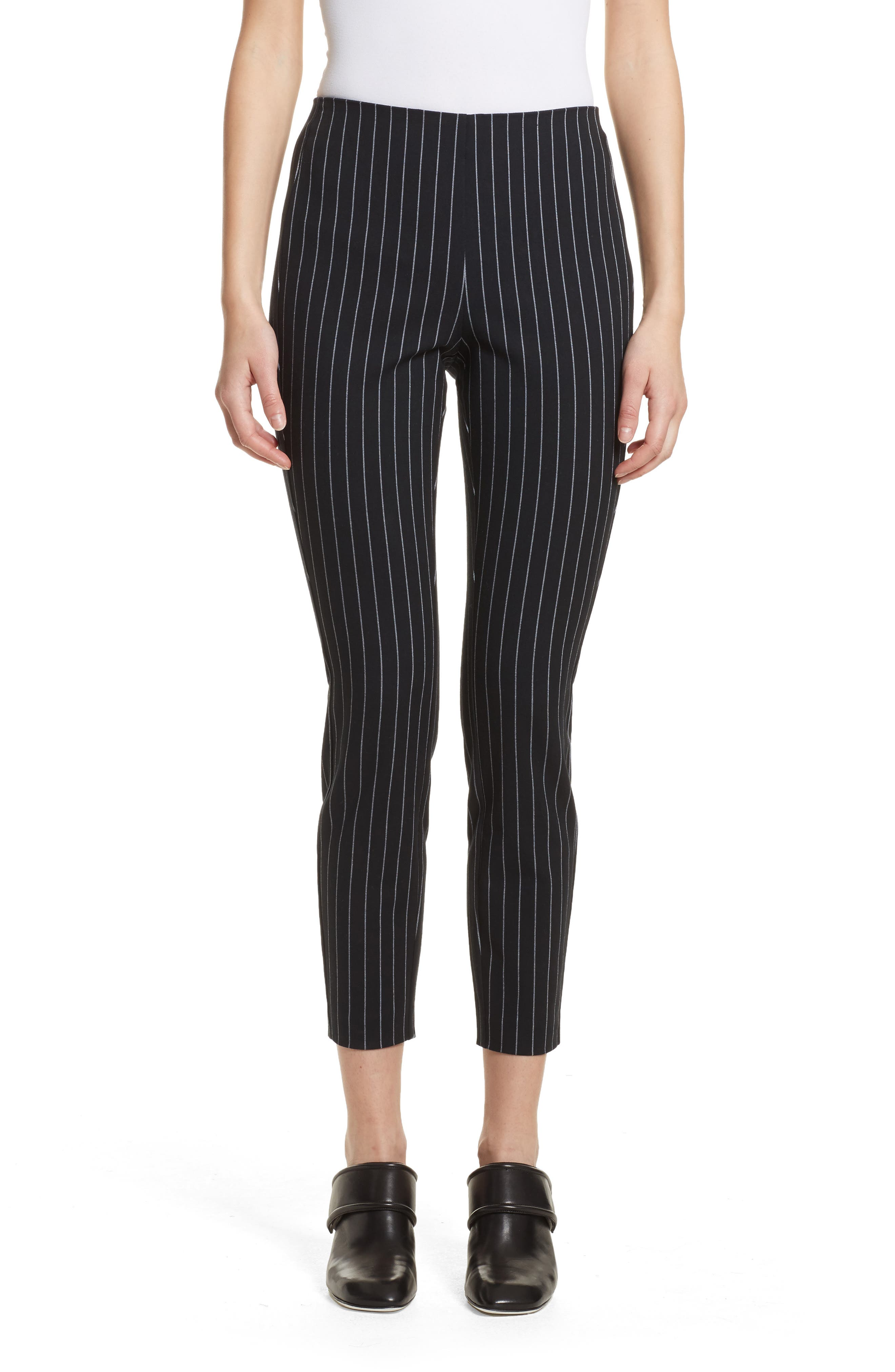 Simone Pinstripe Pants,                         Main,                         color, Black/ White