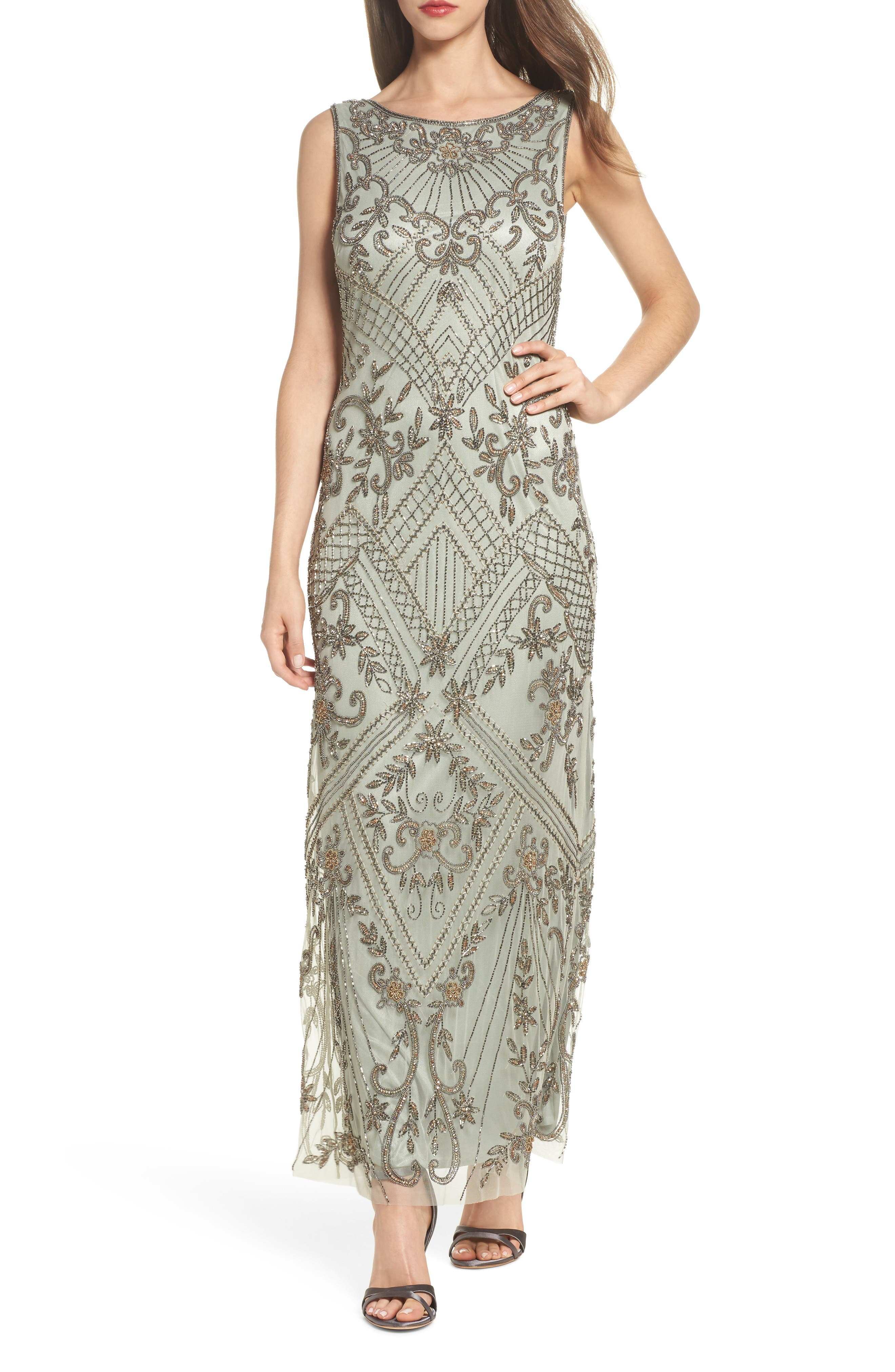 Embellished Mesh Gown,                             Main thumbnail 1, color,                             Sage