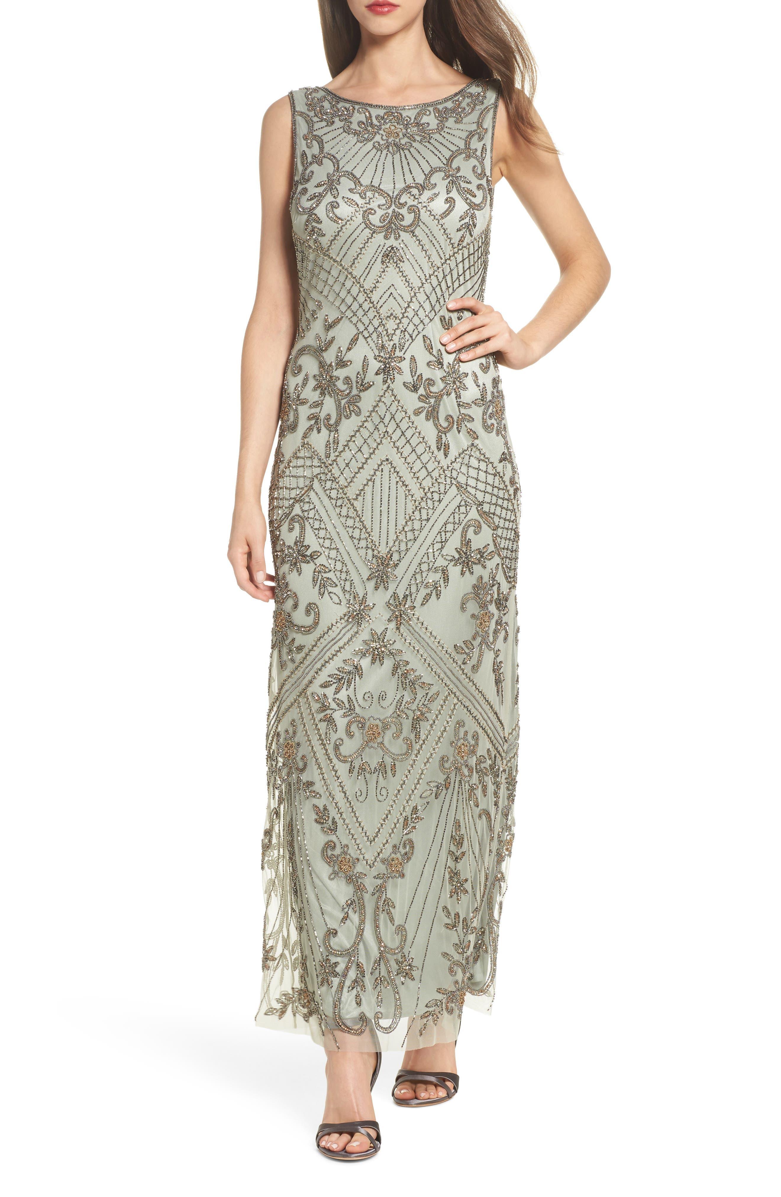 Embellished Mesh Gown,                         Main,                         color, Sage