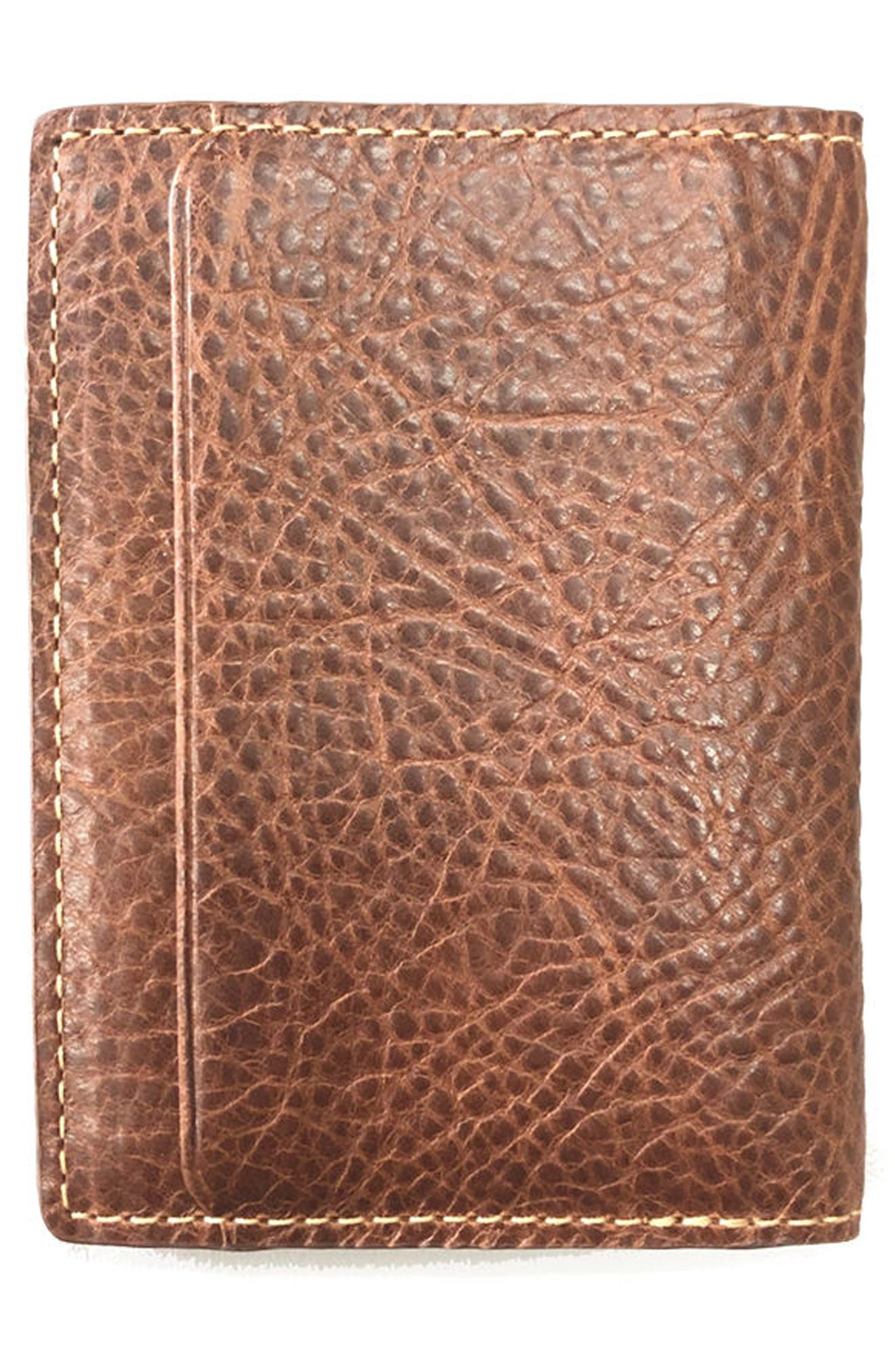 Caleb Leather Folding Card Case,                             Alternate thumbnail 3, color,                             Chestnut