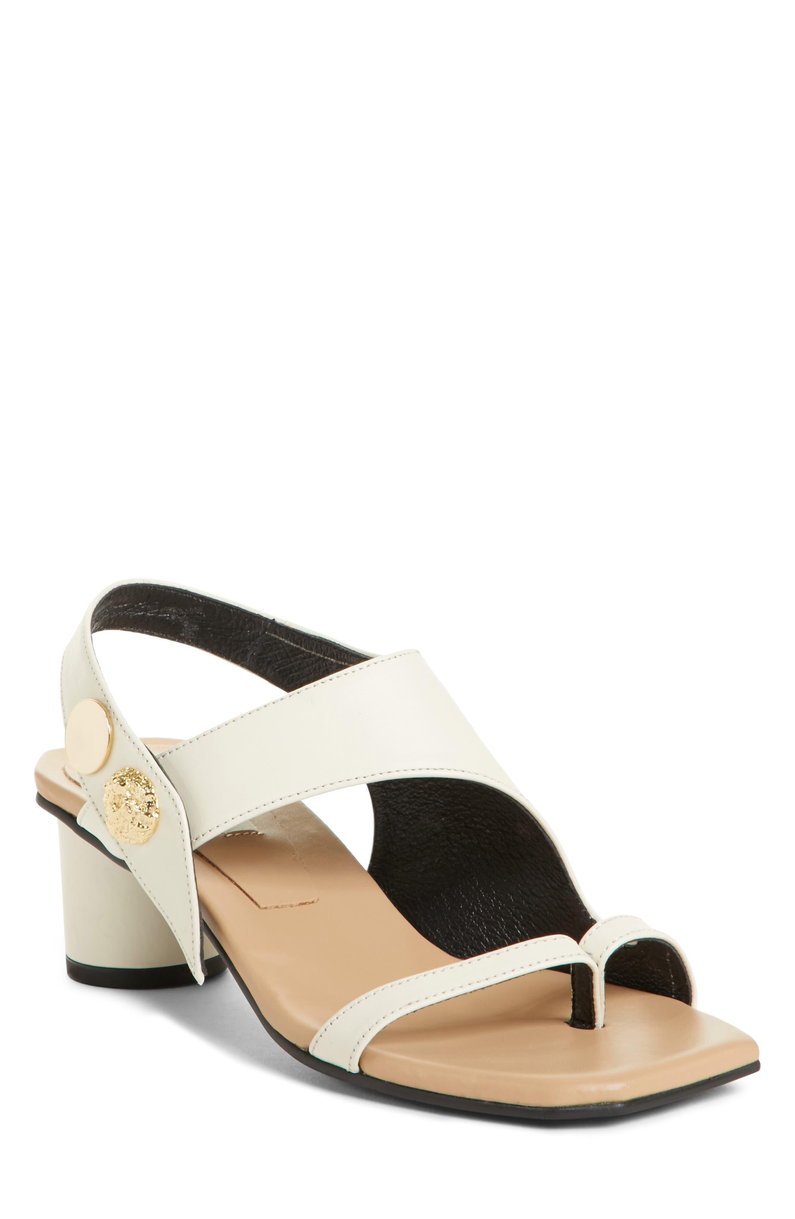 Embellished Leather Sandal,                         Main,                         color, Beige Cream