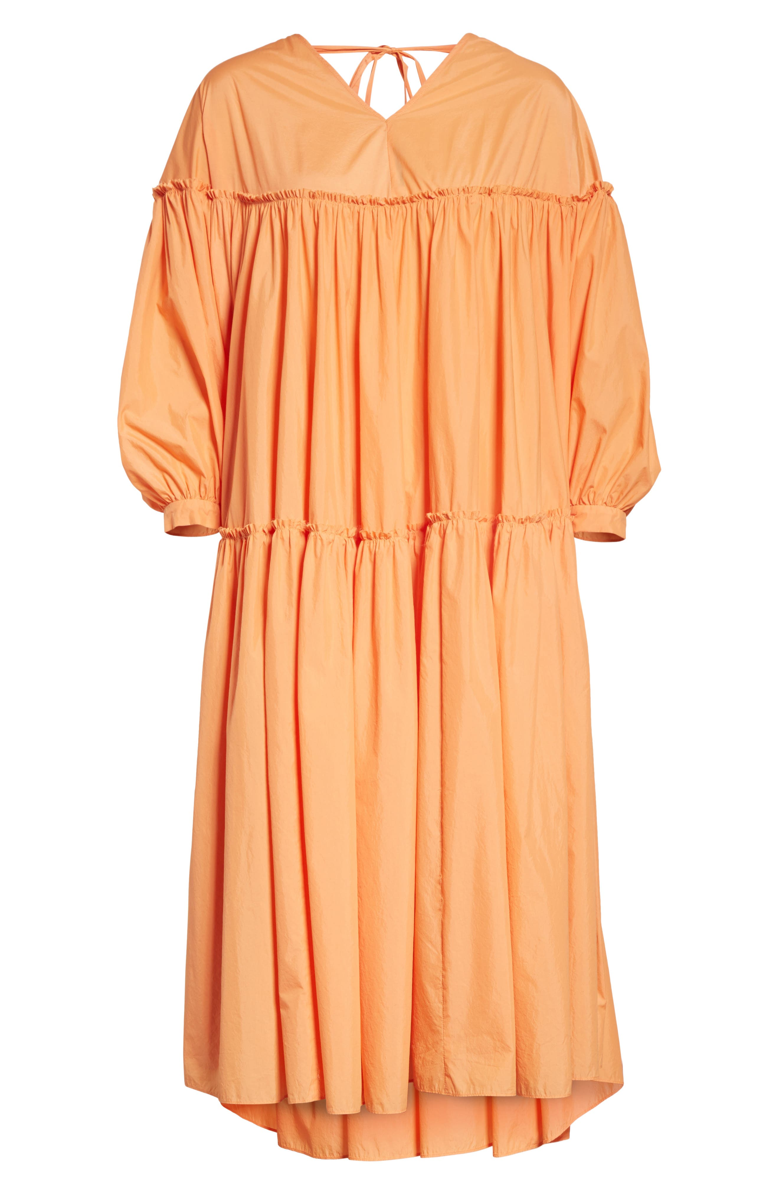 Sara Tiered Shift Dress,                             Alternate thumbnail 7, color,                             Cotton Orange
