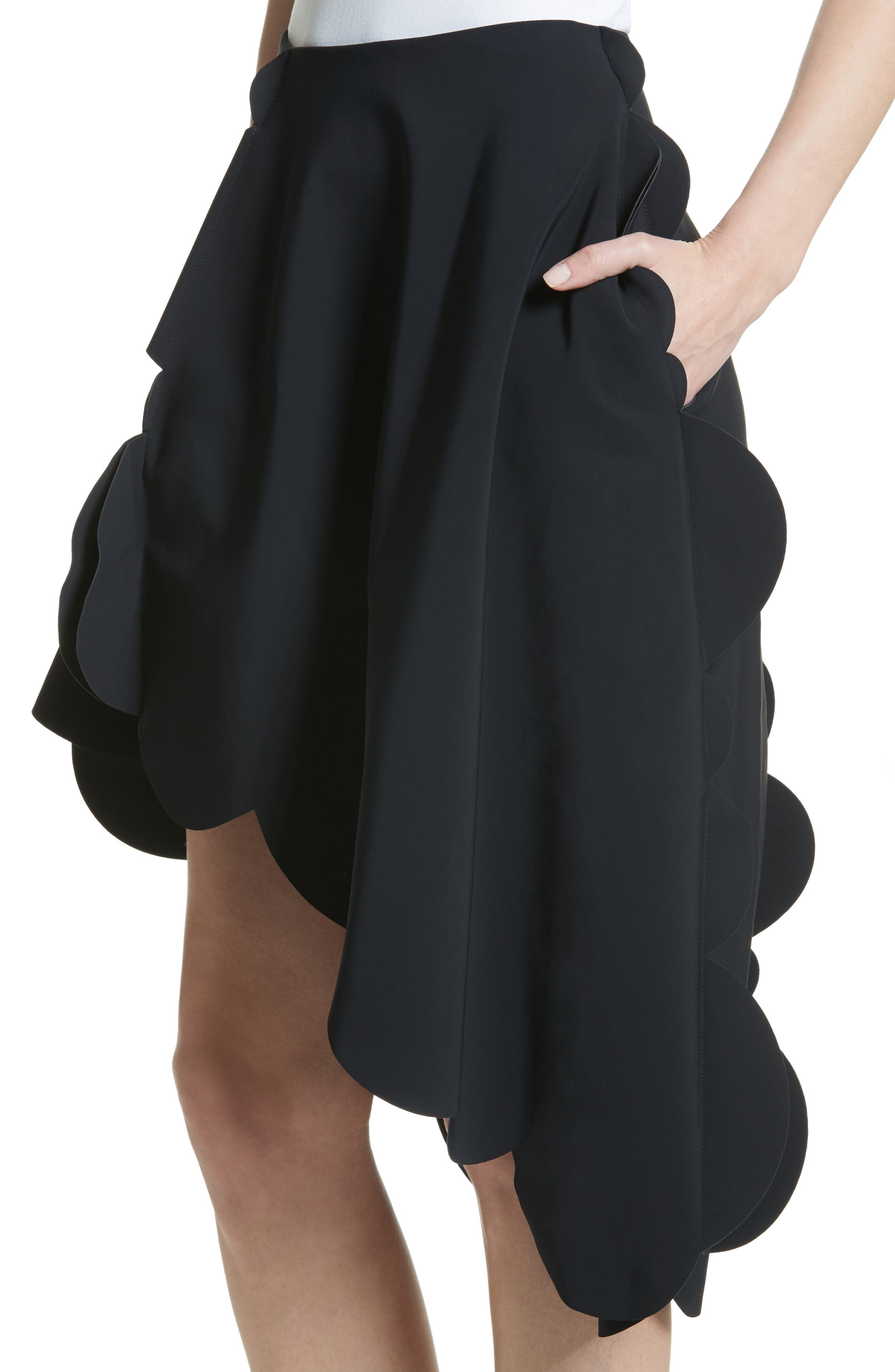Scallop Asymmetrical Skirt,                             Alternate thumbnail 4, color,                             Black