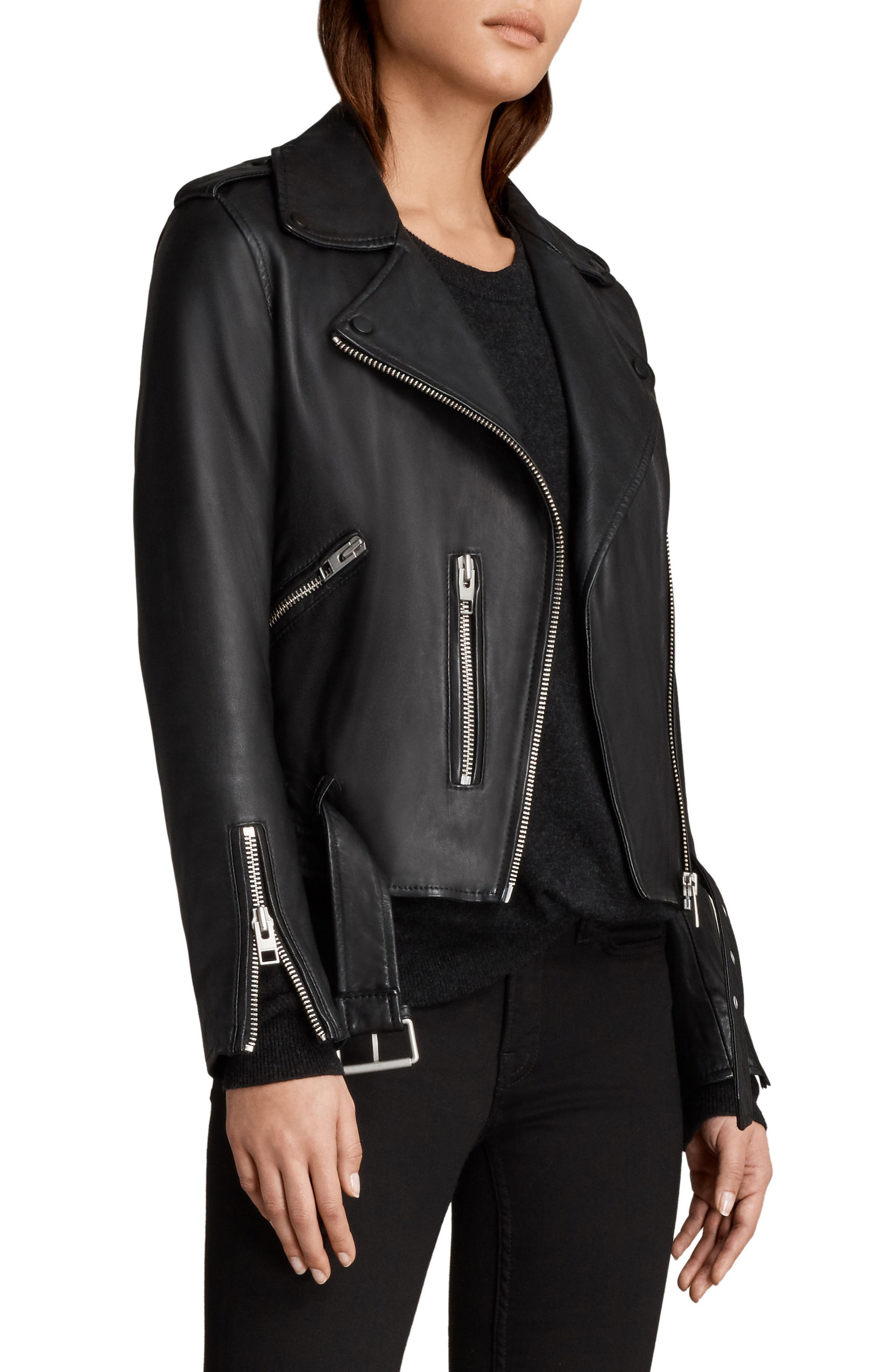 Balfern Leather Biker Jacket,                             Alternate thumbnail 3, color,                             Black