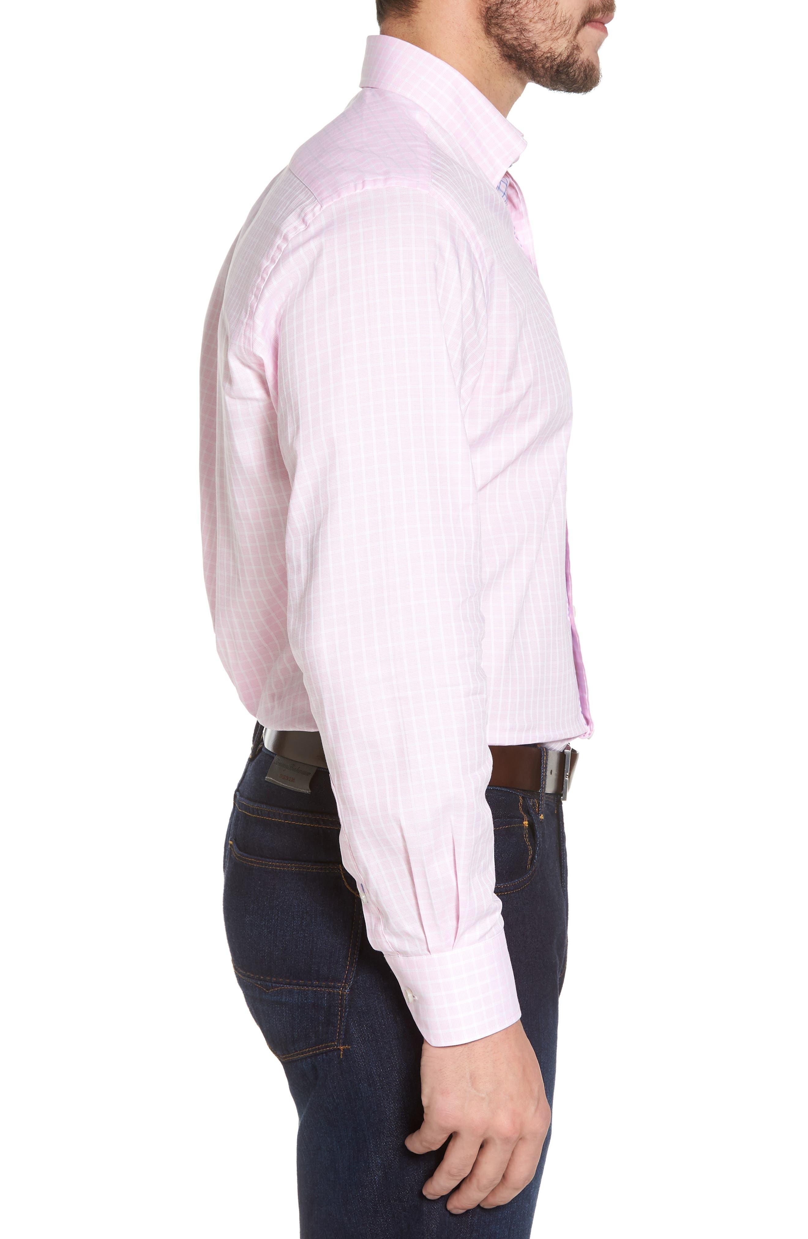 Bela Regular Fit Grid Sport Shirt,                             Alternate thumbnail 3, color,                             Pink
