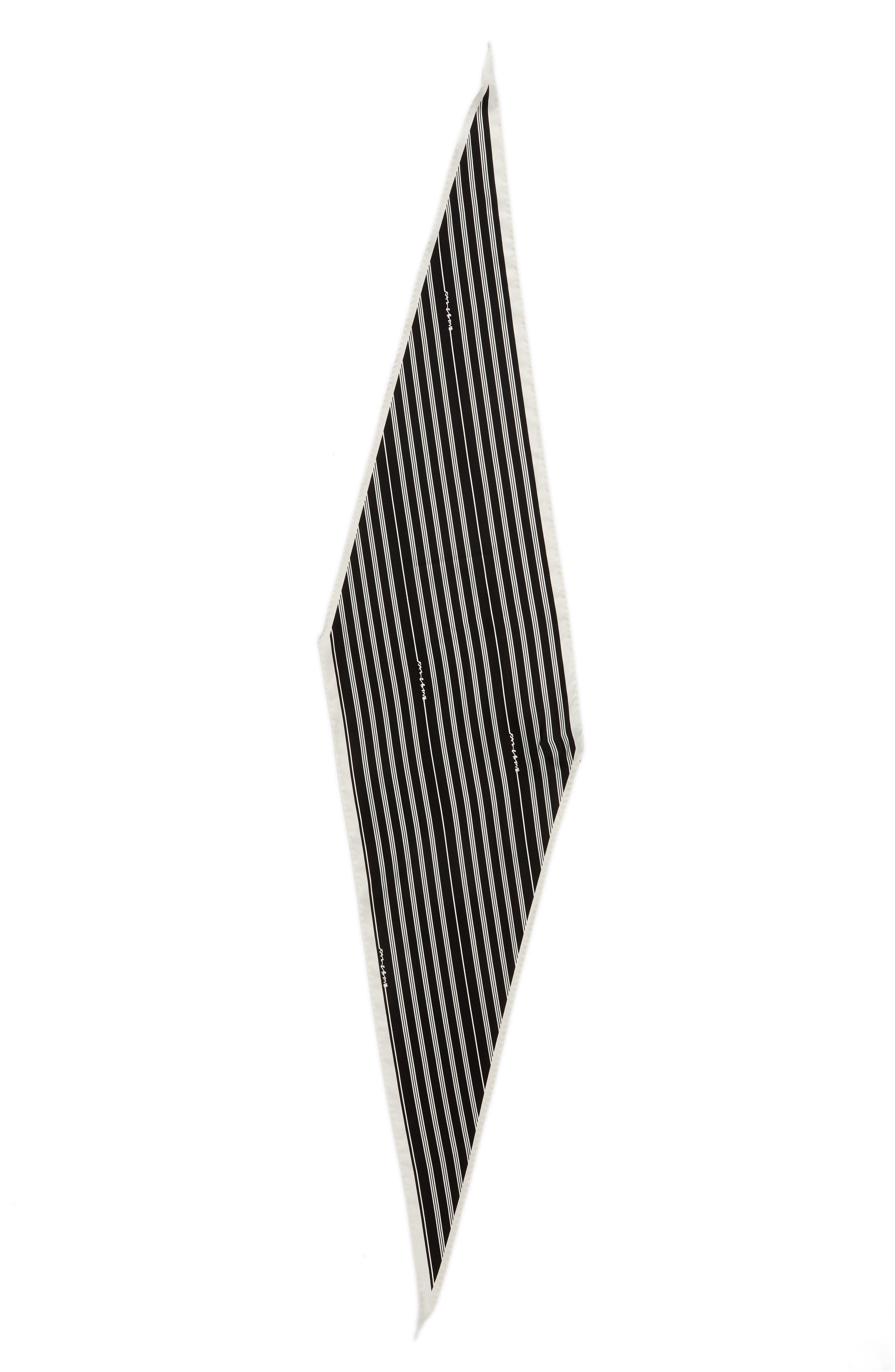 Narrow Stripe Silk Scarf,                             Alternate thumbnail 3, color,                             Black