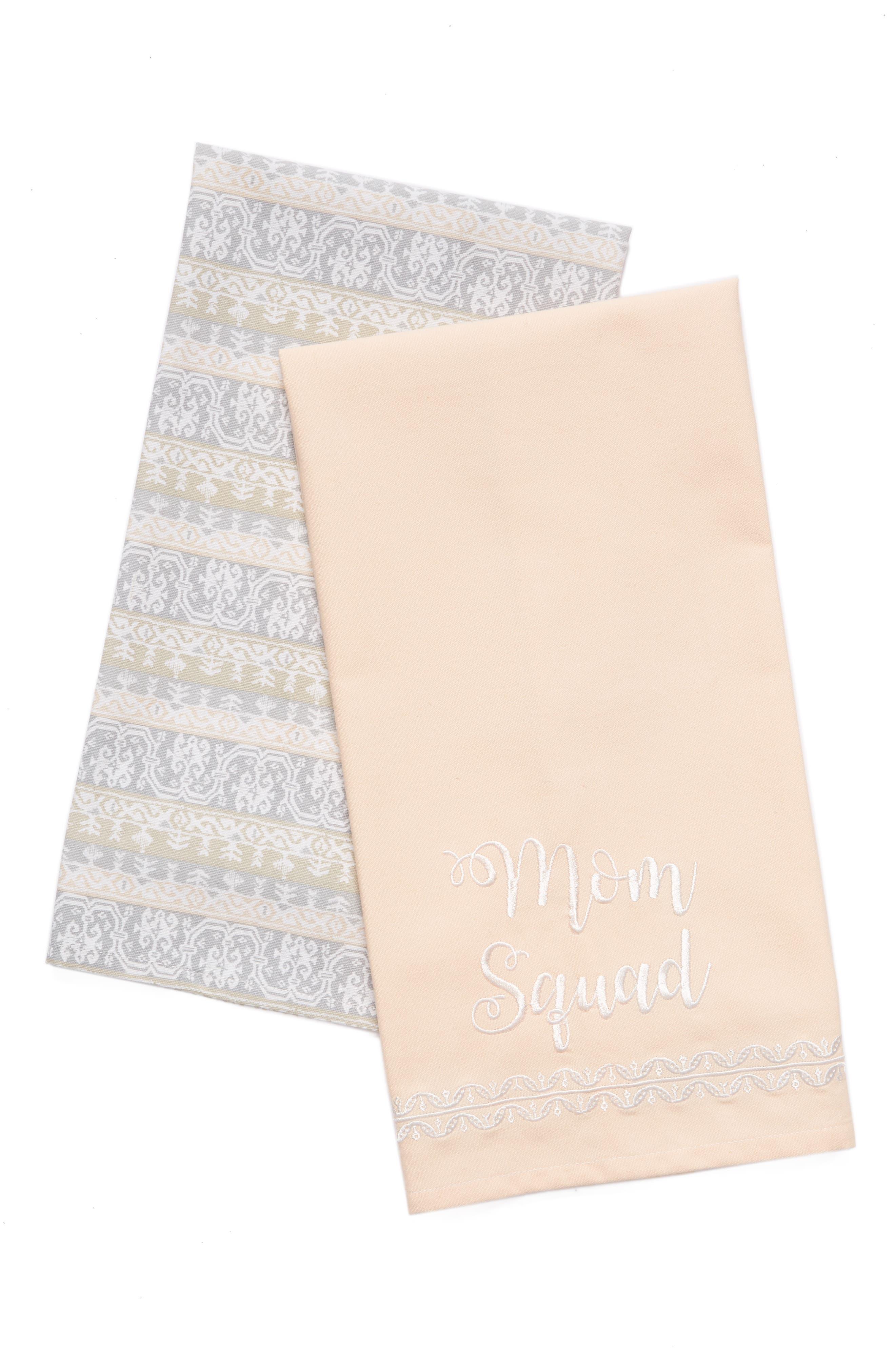 Mom Squad Set of 2 Dishtowels,                         Main,                         color, Blush