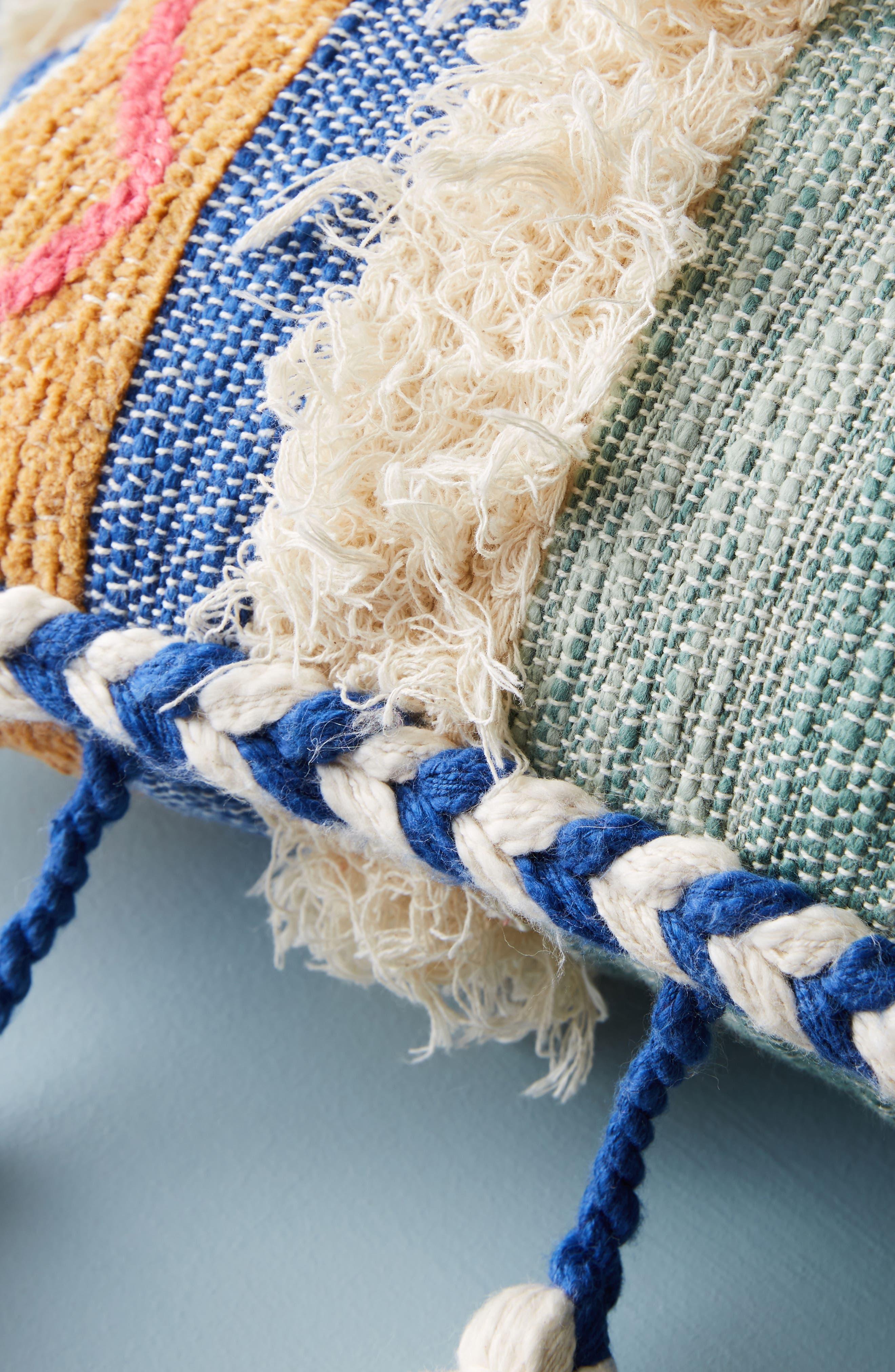 Woven Rami Accent Pillow,                             Alternate thumbnail 3, color,                             Blue Combo