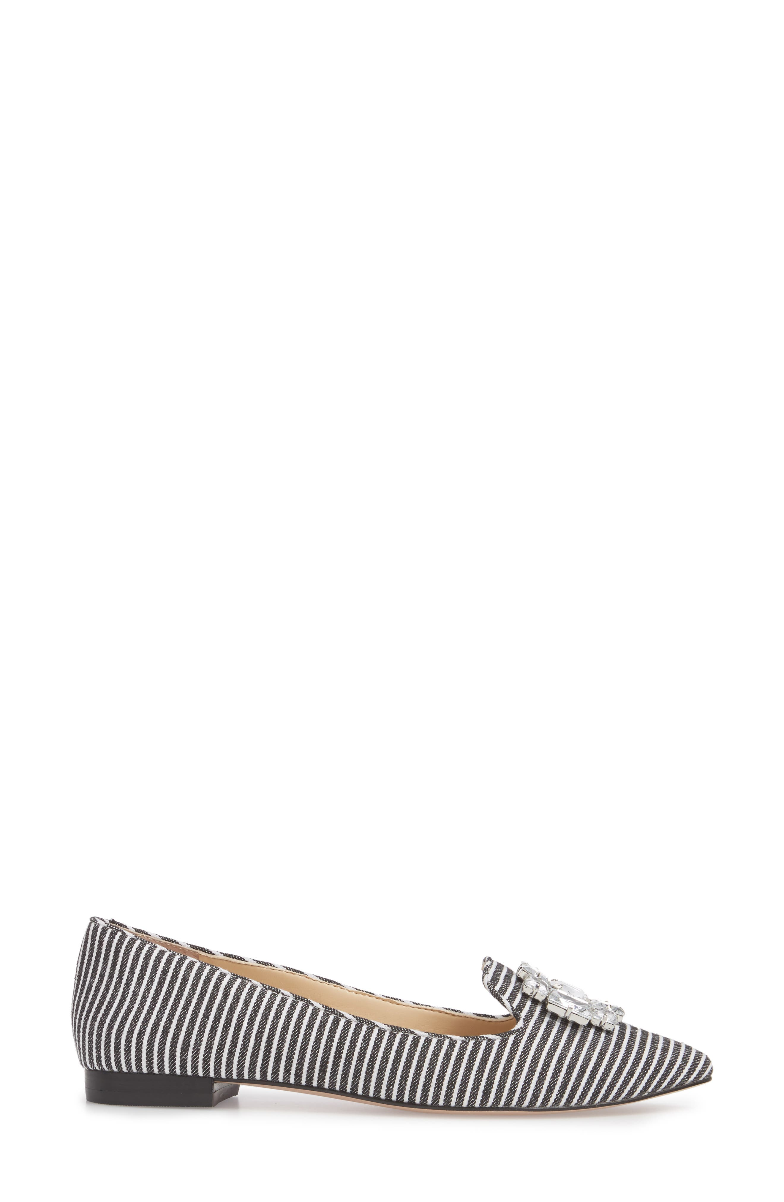 Libry Crystal Embellished Flat,                             Alternate thumbnail 3, color,                             Black/ White Fabric