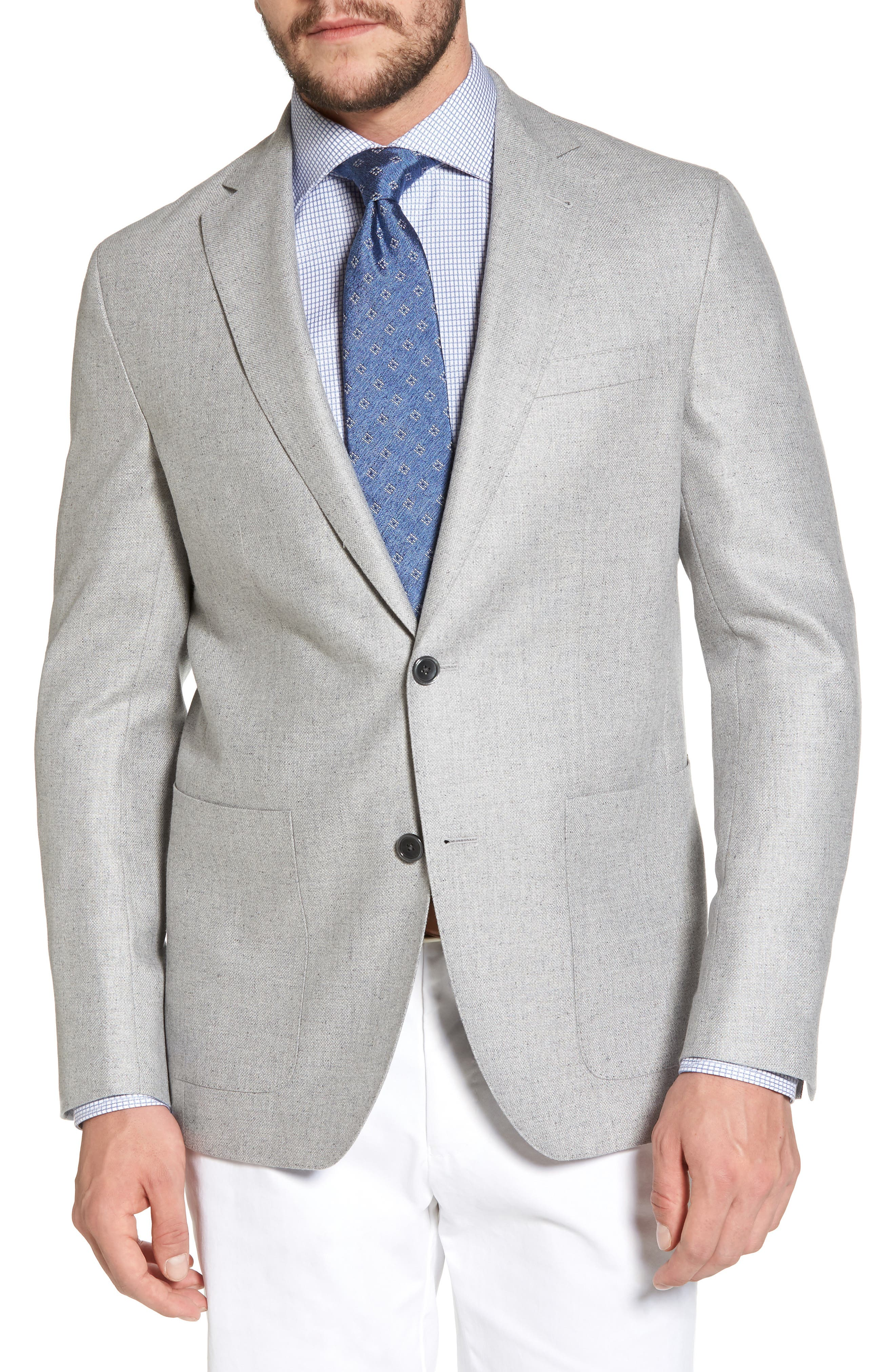 Arnold Classic Fit Wool & Silk Blazer,                             Main thumbnail 1, color,                             Light Grey