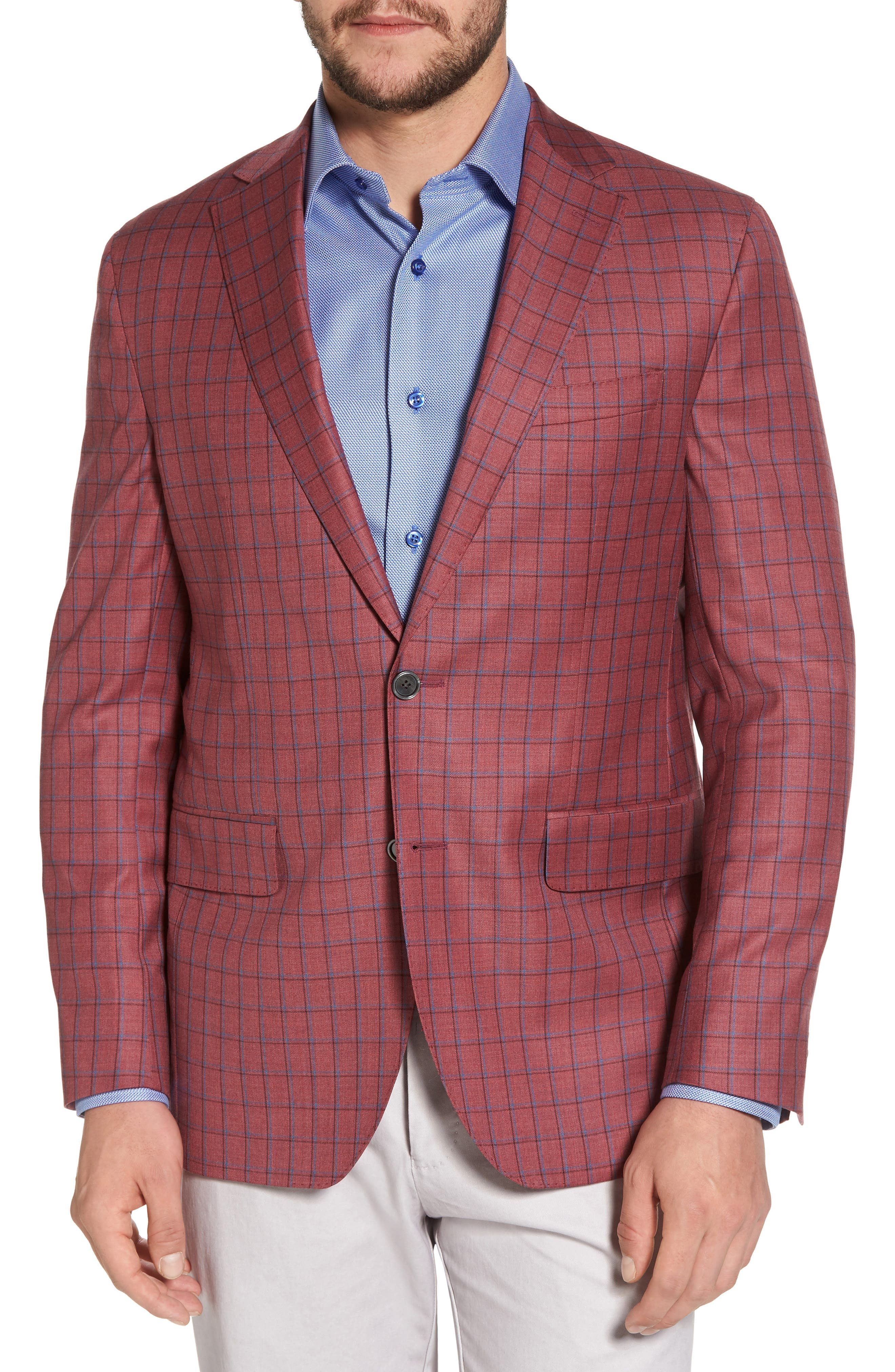 Arnold Classic Fit Plaid Wool Sport Coat,                             Main thumbnail 1, color,                             Red