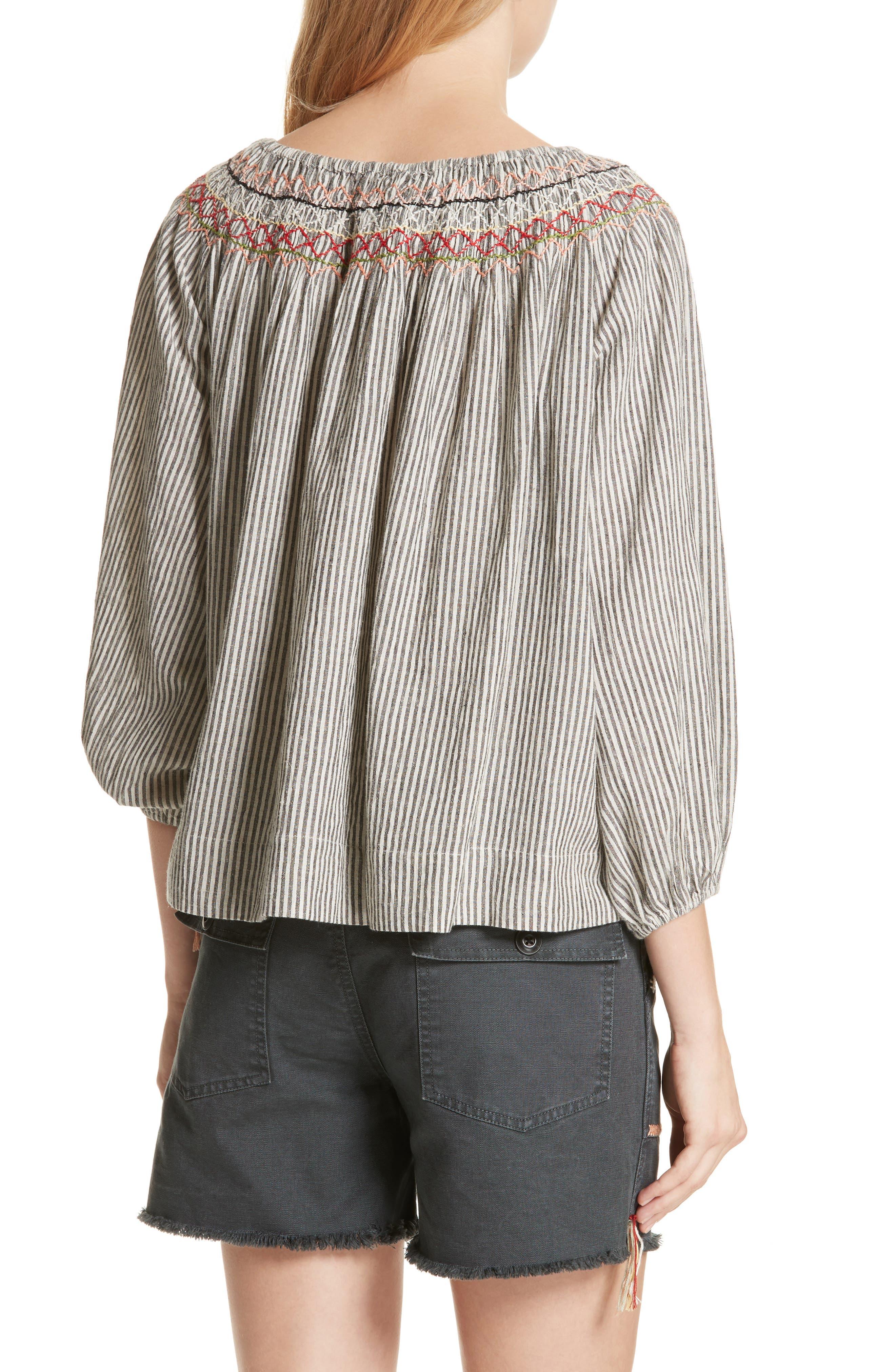 The Vista Cotton & Linen Top,                             Alternate thumbnail 2, color,                             Rail Stripe