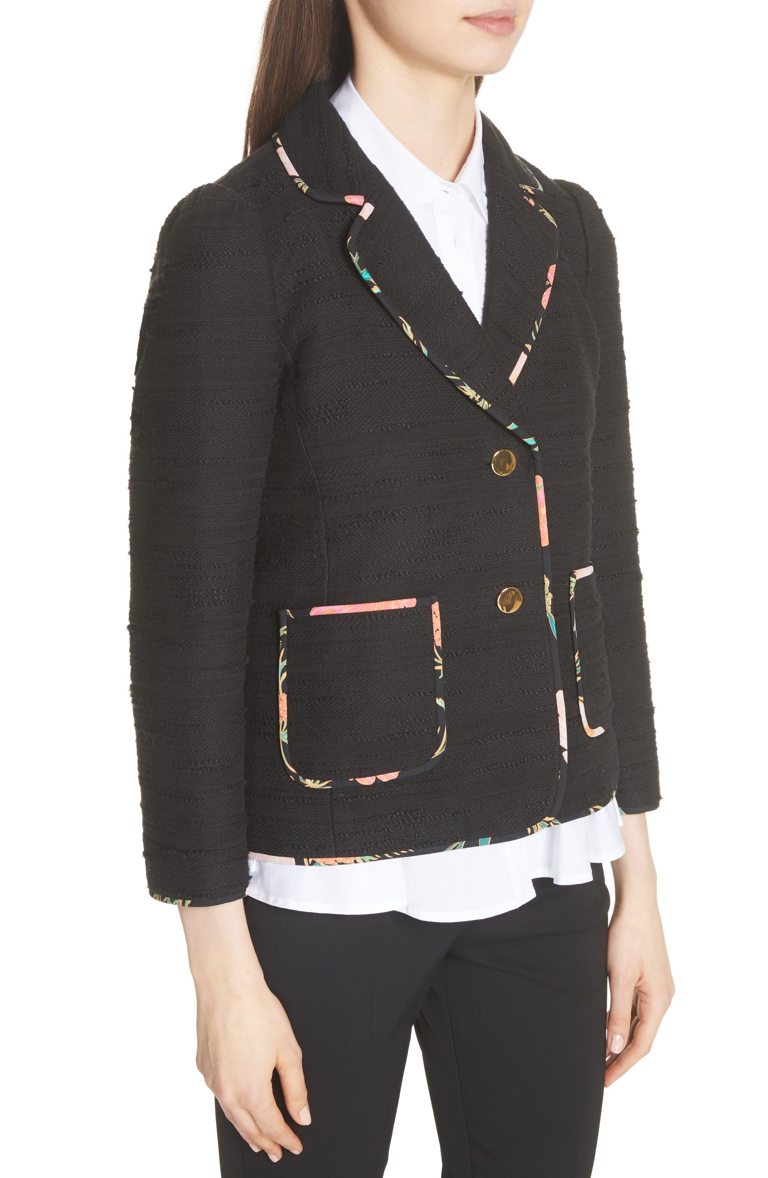 blossom trim tweed jacket,                             Alternate thumbnail 4, color,                             Black