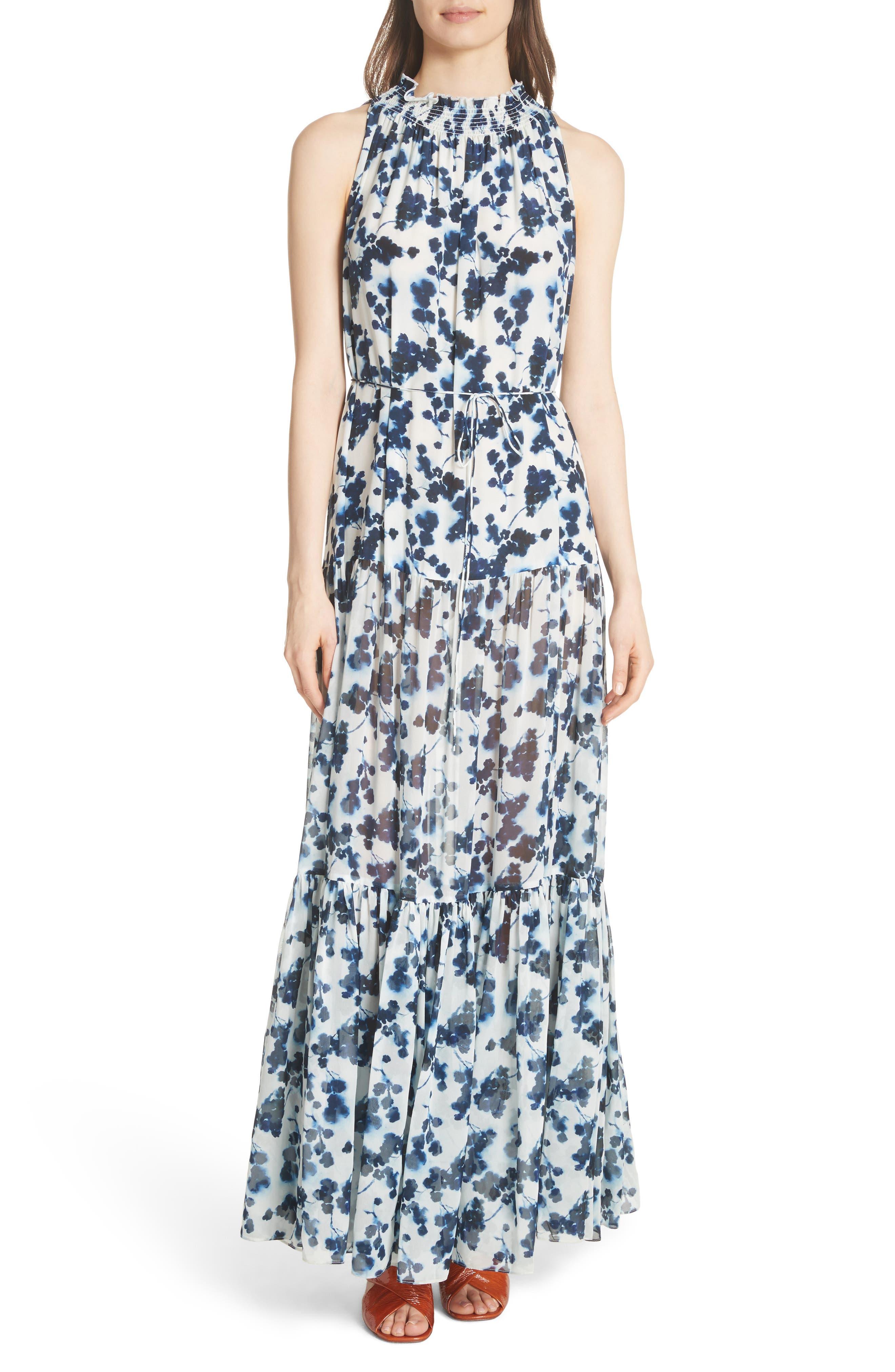 Lani P Floral Print Silk Dress,                         Main,                         color, Navy/ White
