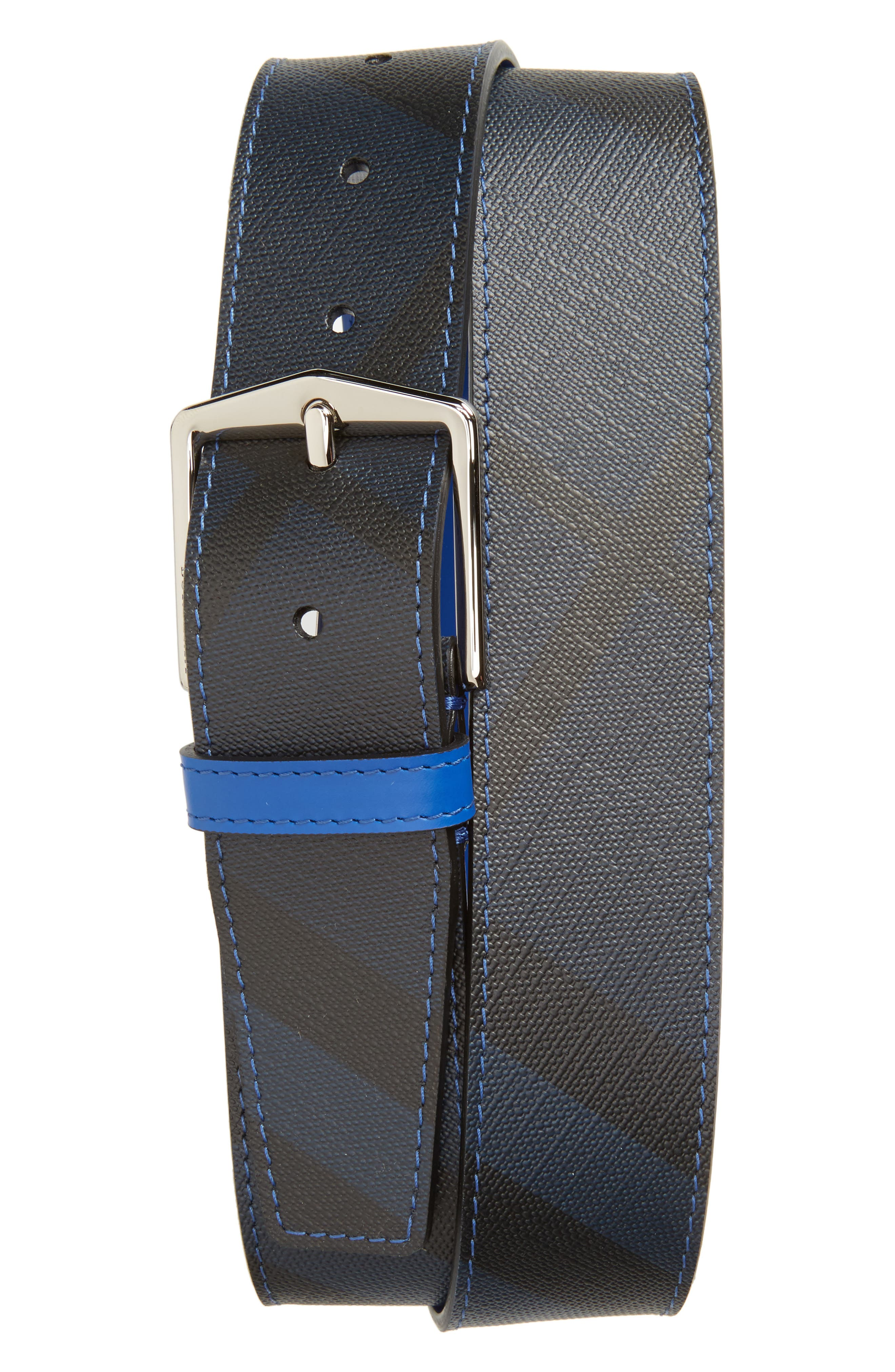Leather Belt,                             Main thumbnail 1, color,                             Navy/ Blue