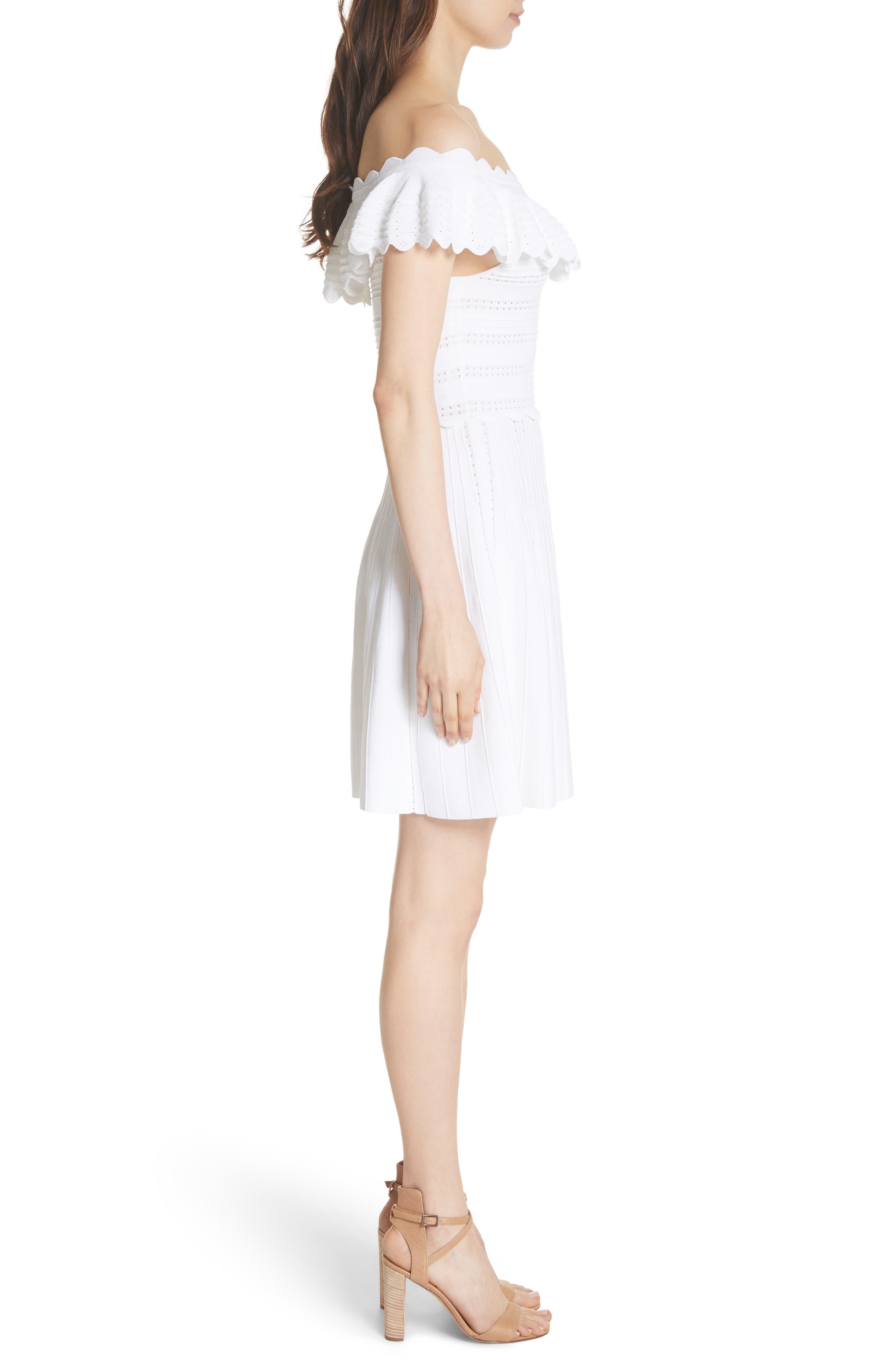 Janella Ruffled Off the Shoulder Dress,                             Alternate thumbnail 3, color,                             Optic White