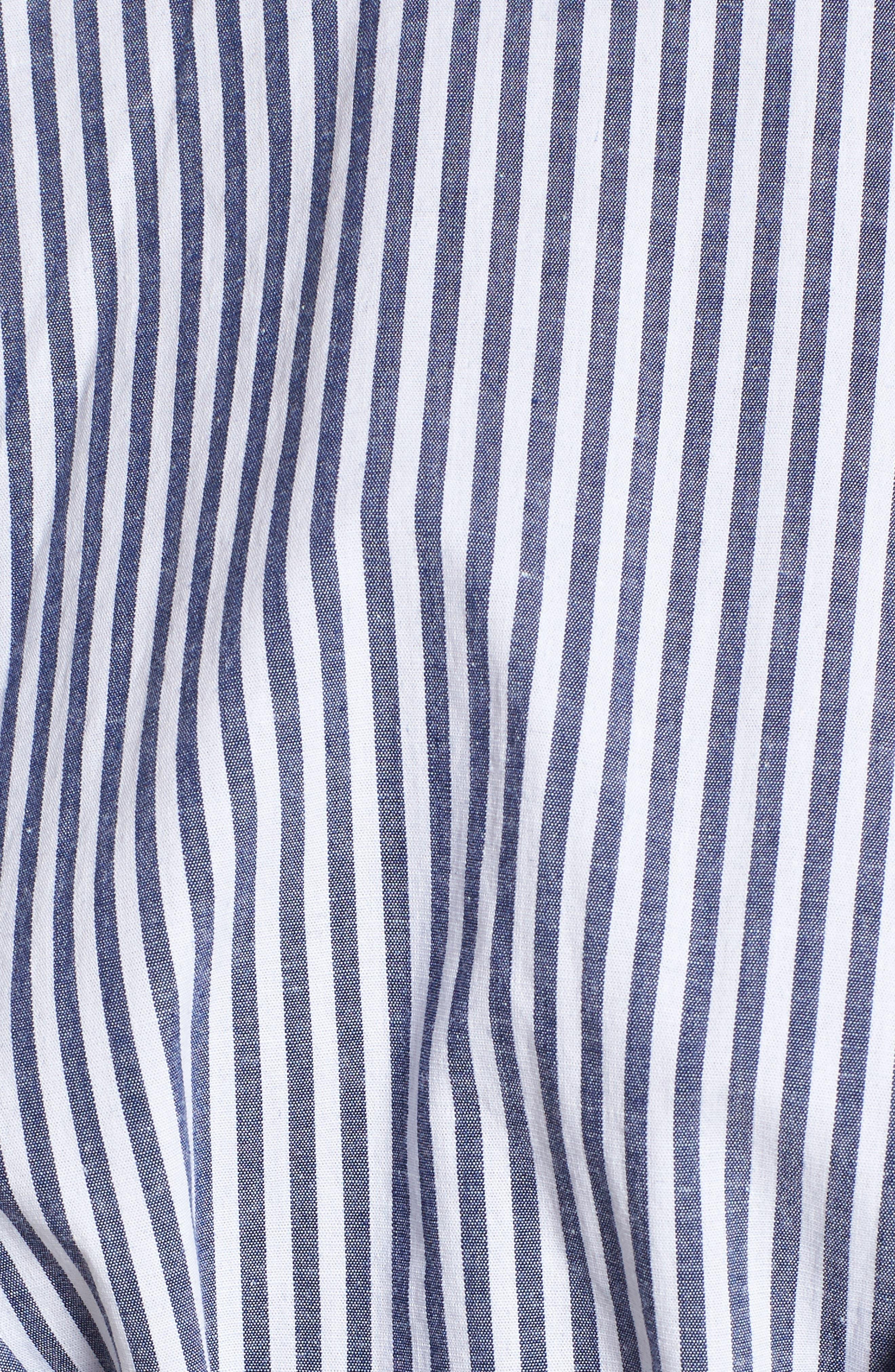Lace-Up Minidress,                             Alternate thumbnail 5, color,                             Blue-White Stripe