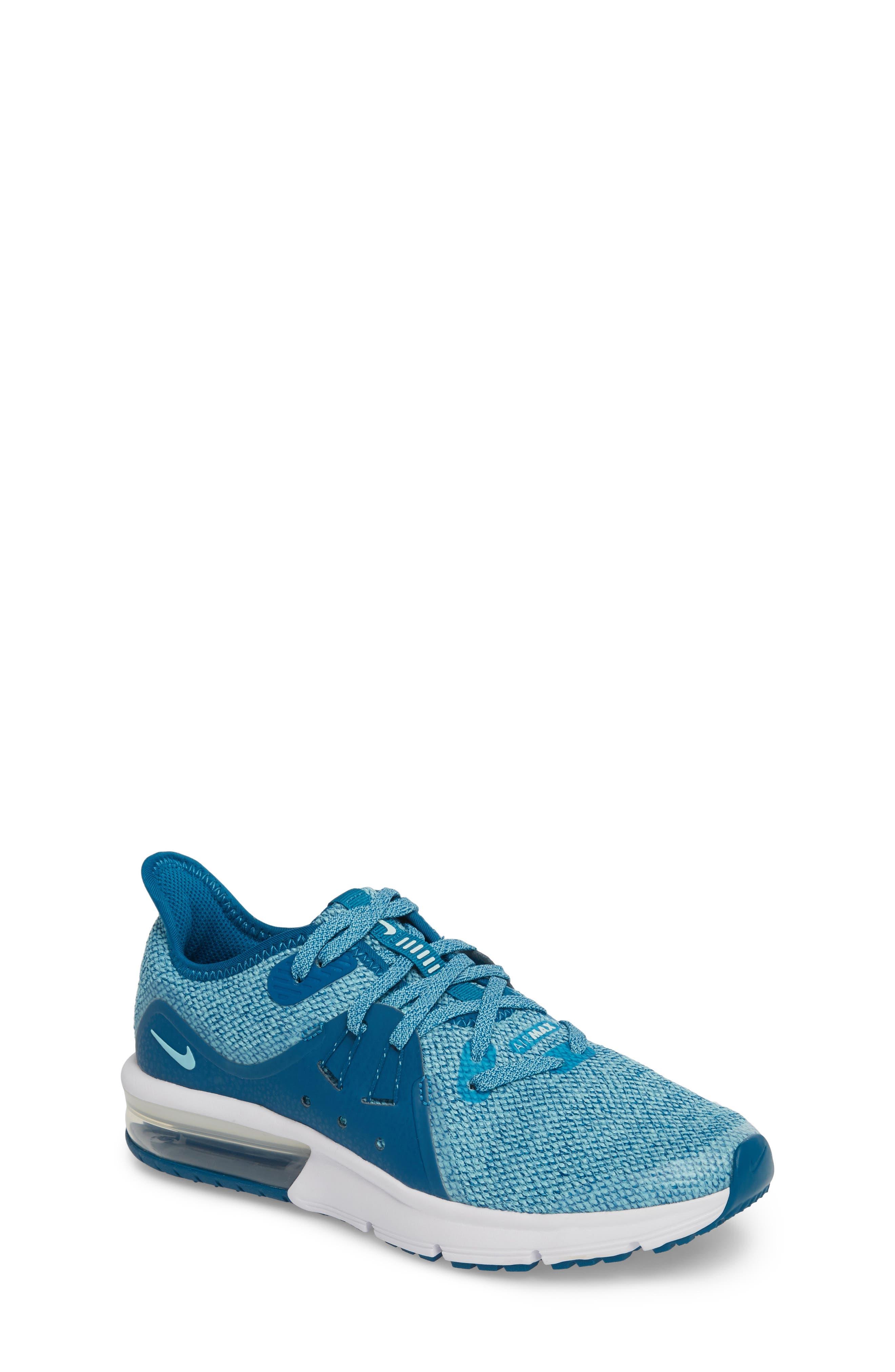 Air Max Sequent 3 GS Running Shoe,                             Main thumbnail 1, color,                             Green/ Igloo/ Bleached Aqua