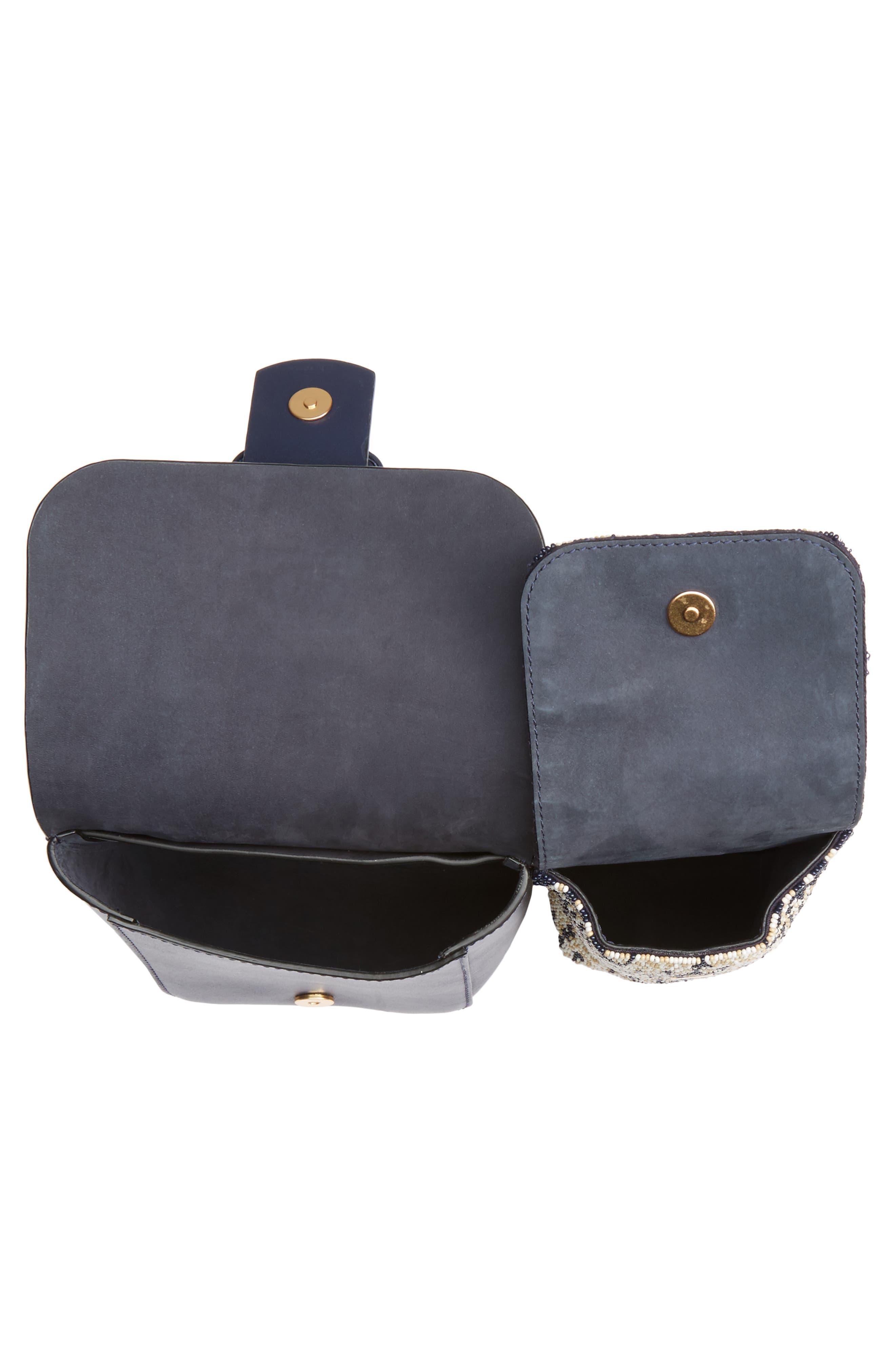 Sawyer Embellished Double Pocket Leather Shoulder Bag,                             Alternate thumbnail 4, color,                             Navy