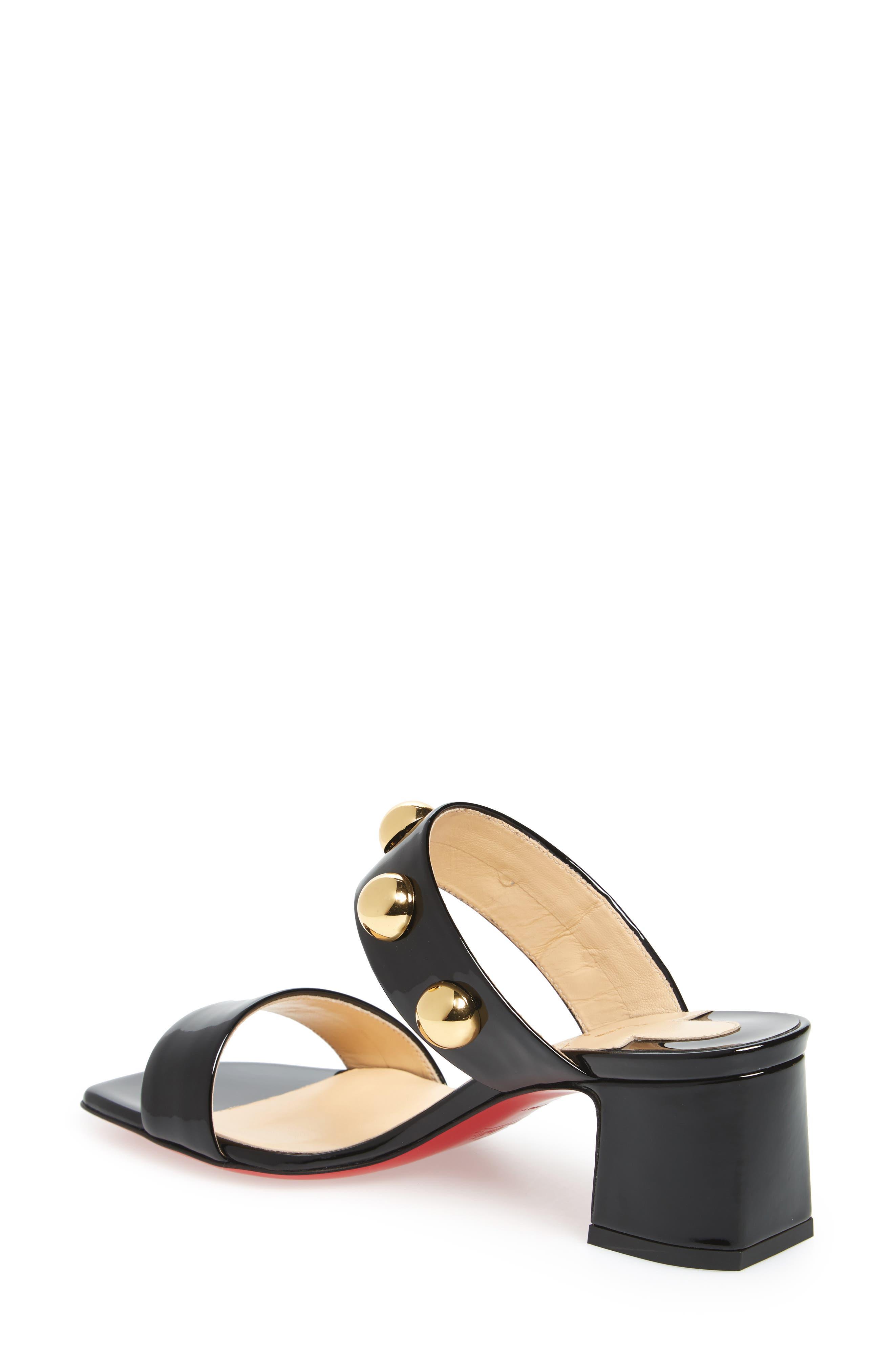 Simple Bille Ornament Slide Sandal,                             Alternate thumbnail 2, color,                             Black/ Gold