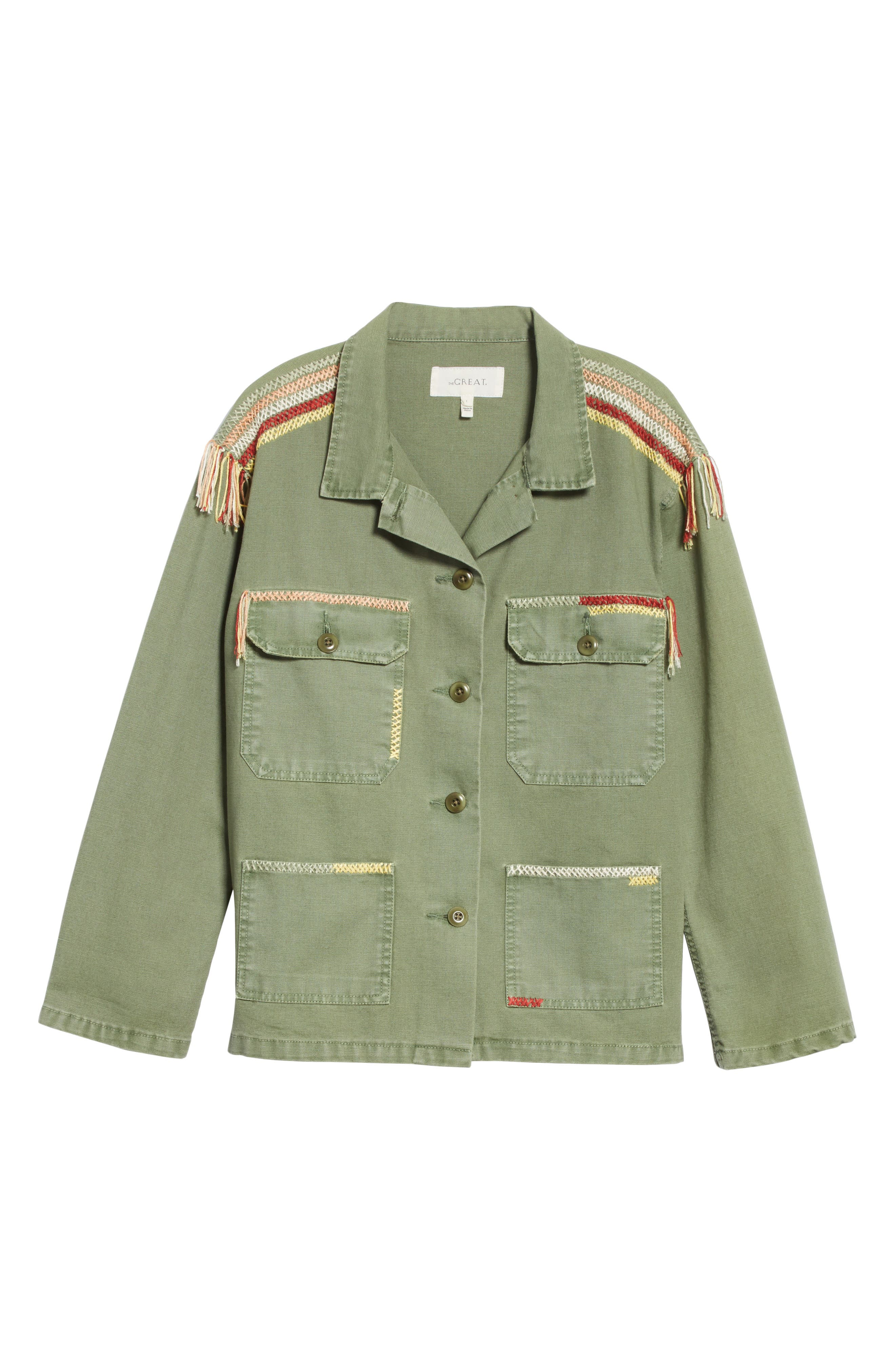 The Sergeant Embroidered Jacket,                             Alternate thumbnail 6, color,                             Worn Army