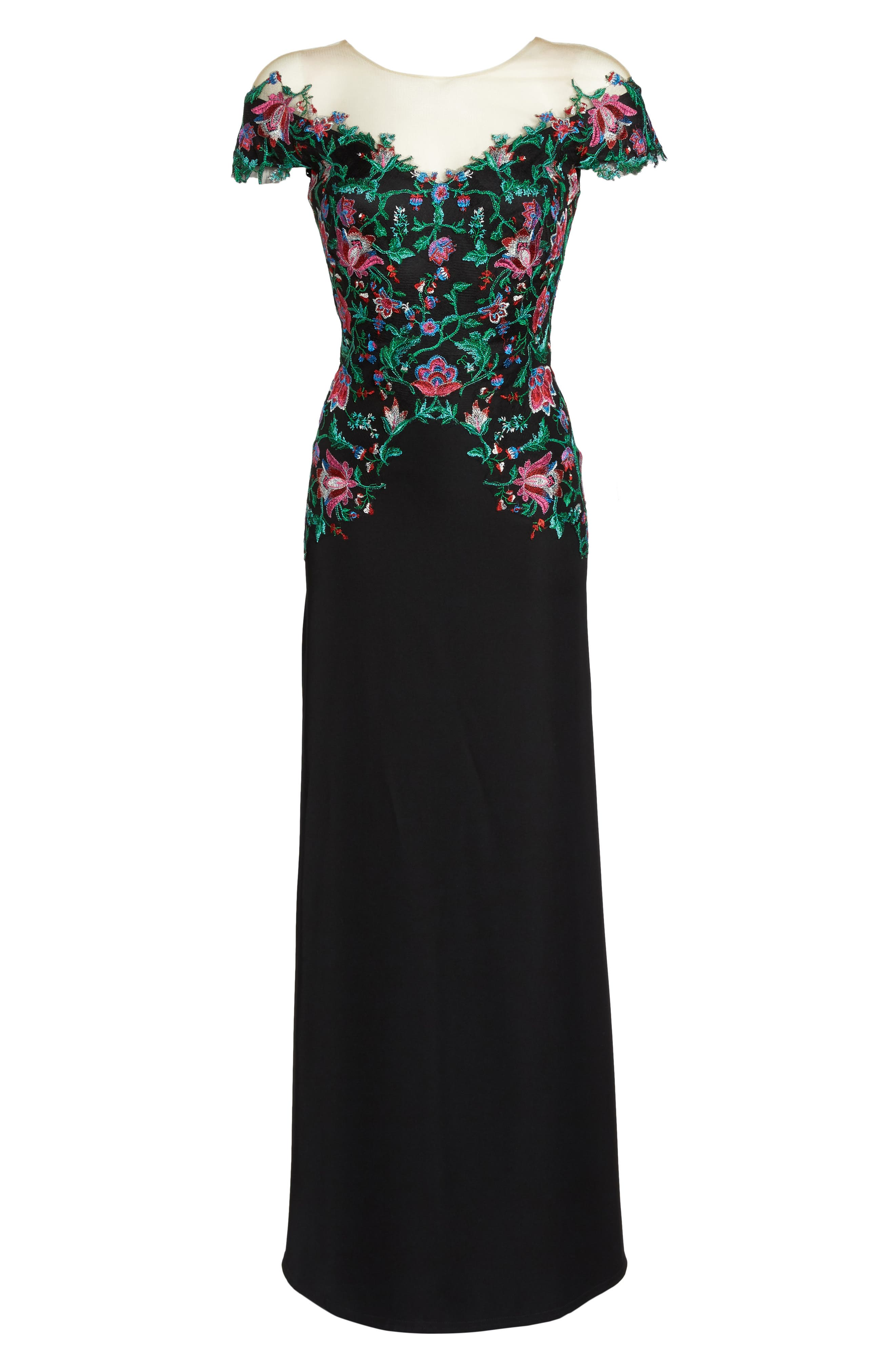 Embroidered Illusion Gown,                             Alternate thumbnail 6, color,                             Black Dahlia